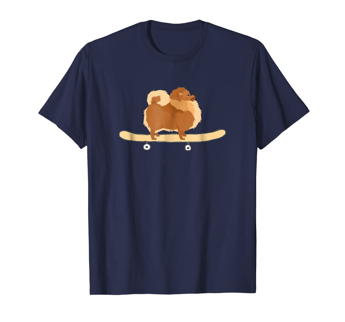 Funny Skateboarding Pomeranian Pom Puppy T-Shirt Gift-Men's T-Shirt-Navy