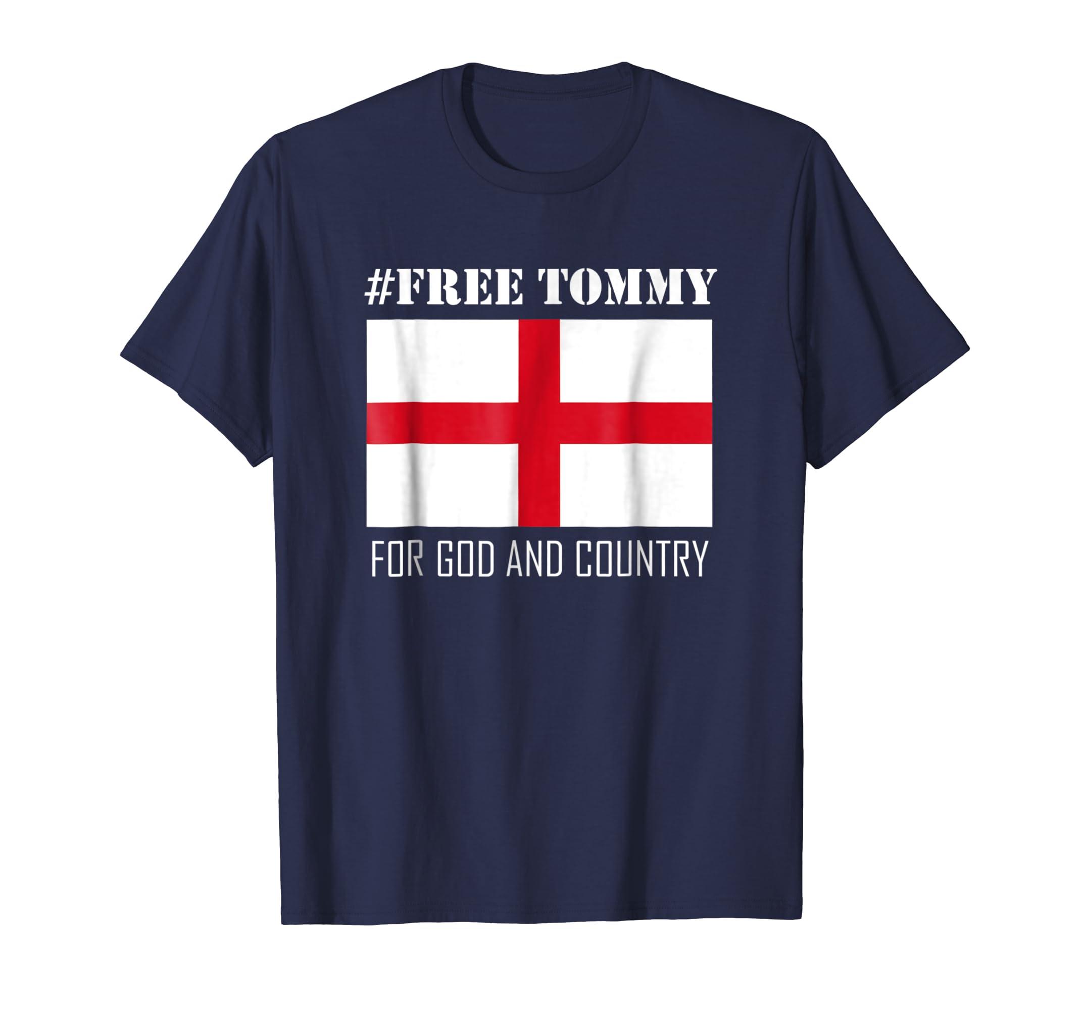 Free Tommy Robinson T-Shirt W/ English Flag-fa