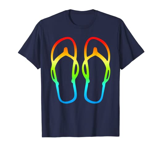 f54de4160 Amazon.com  Flip Flops T-Shirt   Fun Rainbow Beach Colors Sandals ...