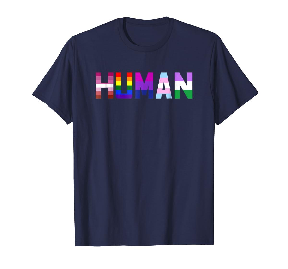 HUMAN Flag LGBT Gay Pride Month Transgender Ally T Shirt-Men's T-Shirt-Navy