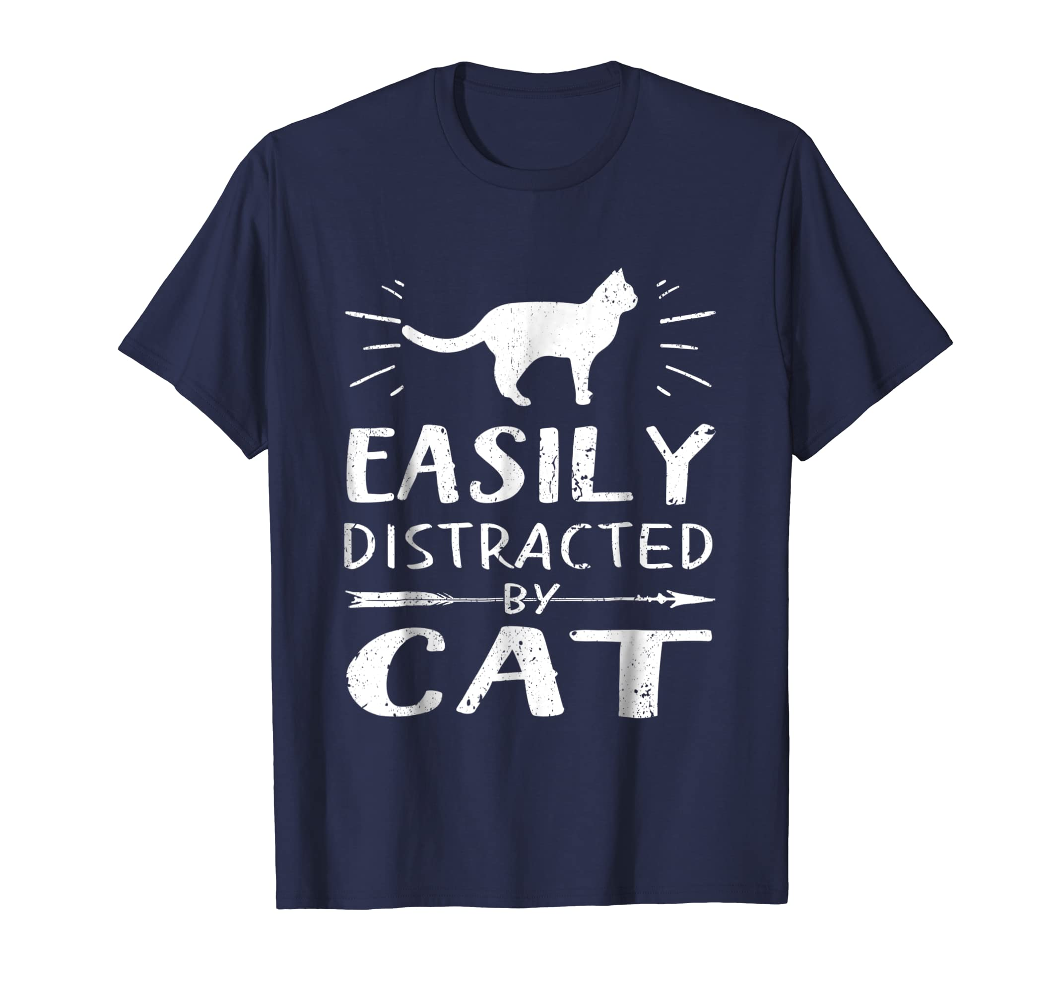 Easily Distracted By Cat TShirt Gifts For Animal Lovers-azvn