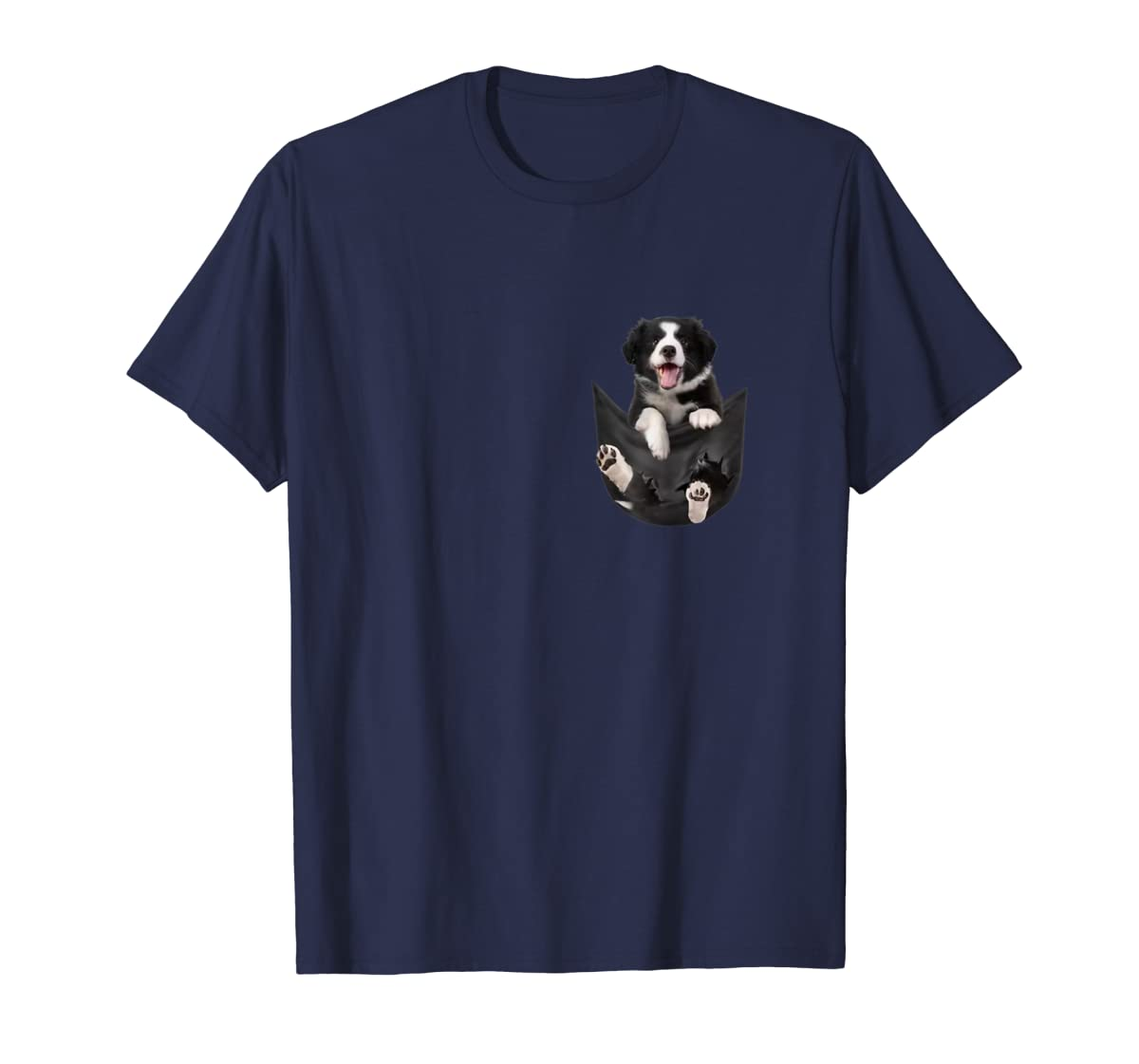 Border Collies Inside In Pocket Dog Lover T shirt Funny Cute-Men's T-Shirt-Navy