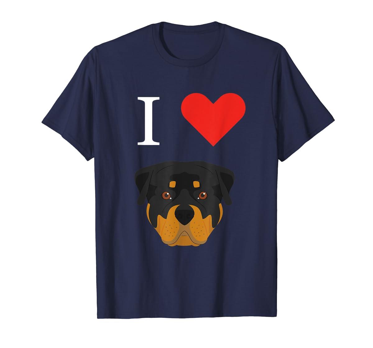 I Love My Rottweiler Dog T-Shirt-Men's T-Shirt-Navy