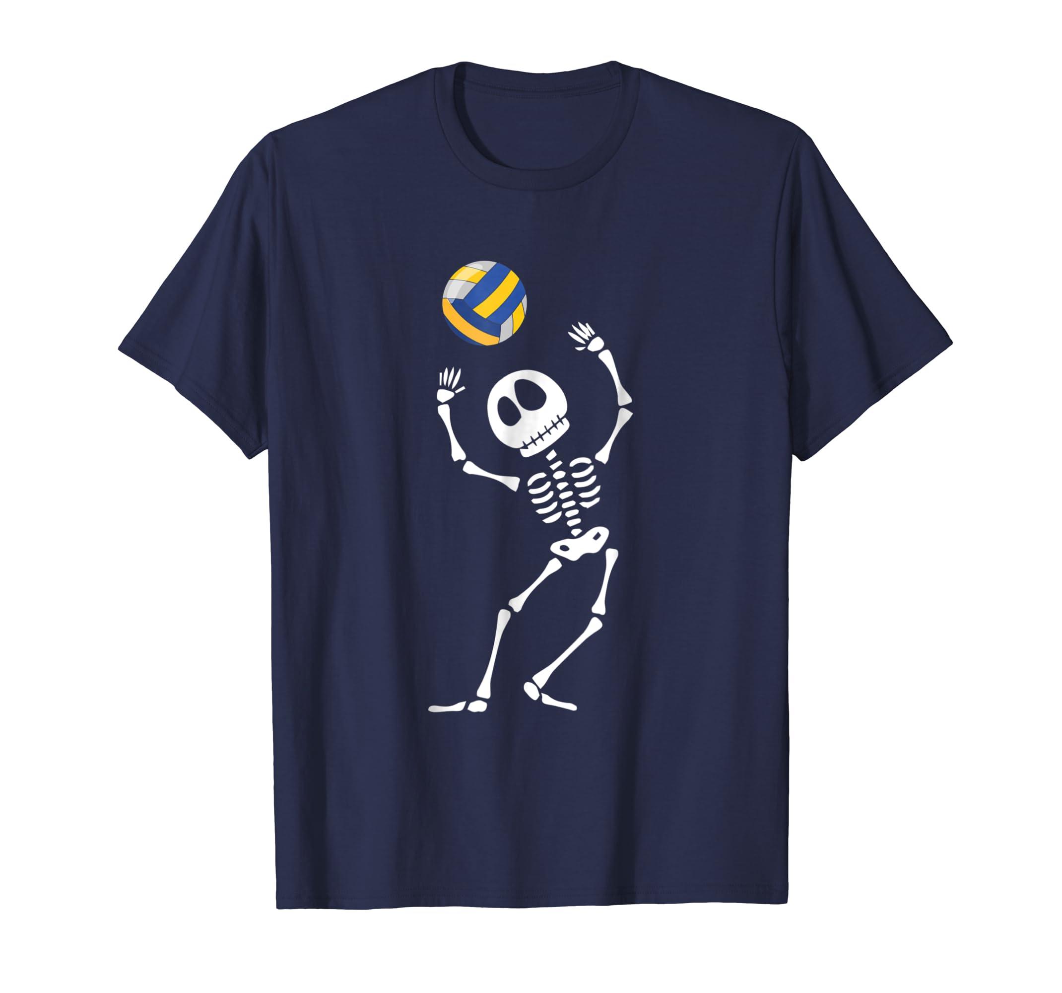 Skeleton Halloween Volleyball T shirt For Men Women Kids-azvn