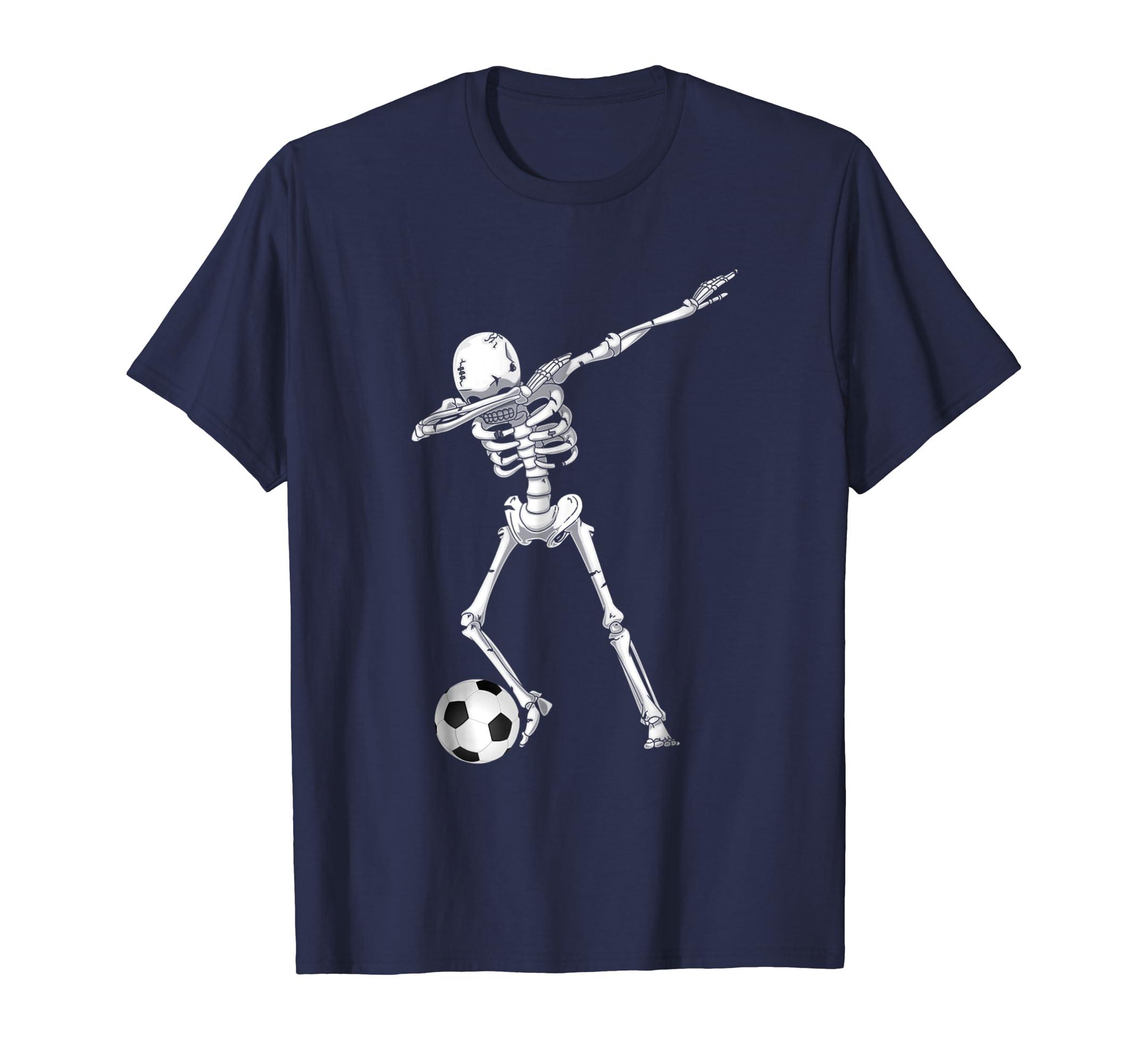 Dabbing Skeleton Soccer Shirt - Funny Halloween Dab T-Shirt-mt