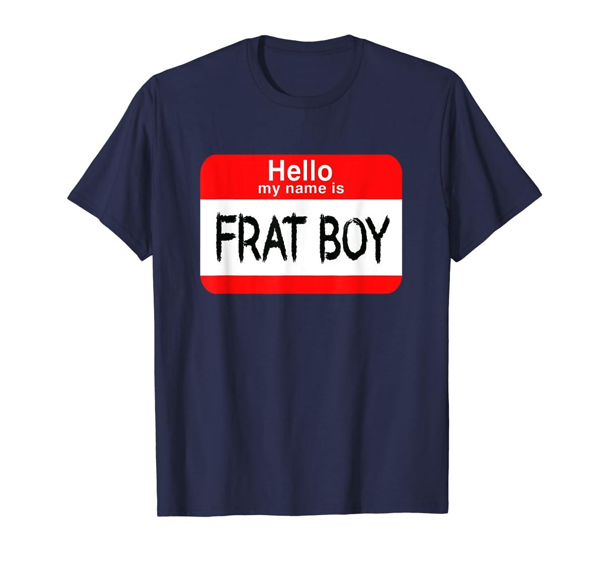 Hello My Name Is Frat Boy Halloween Costume T-Shirt-Men's T-Shirt-Navy