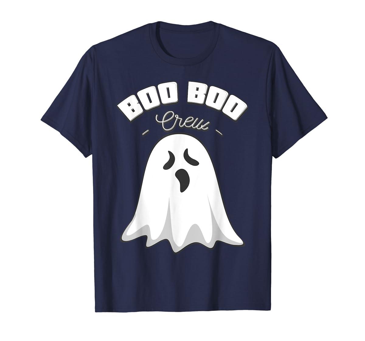 Boo Boo Crew Ghost Funny Halloween Black and Orange Night  T-Shirt-Men's T-Shirt-Navy