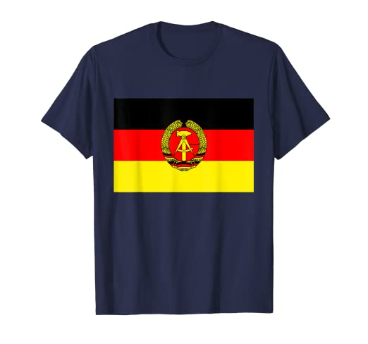 d825fbb5ed5 Amazon.com: DDR East Germany old Emblem symbol Flag Retro T-Shirt ...
