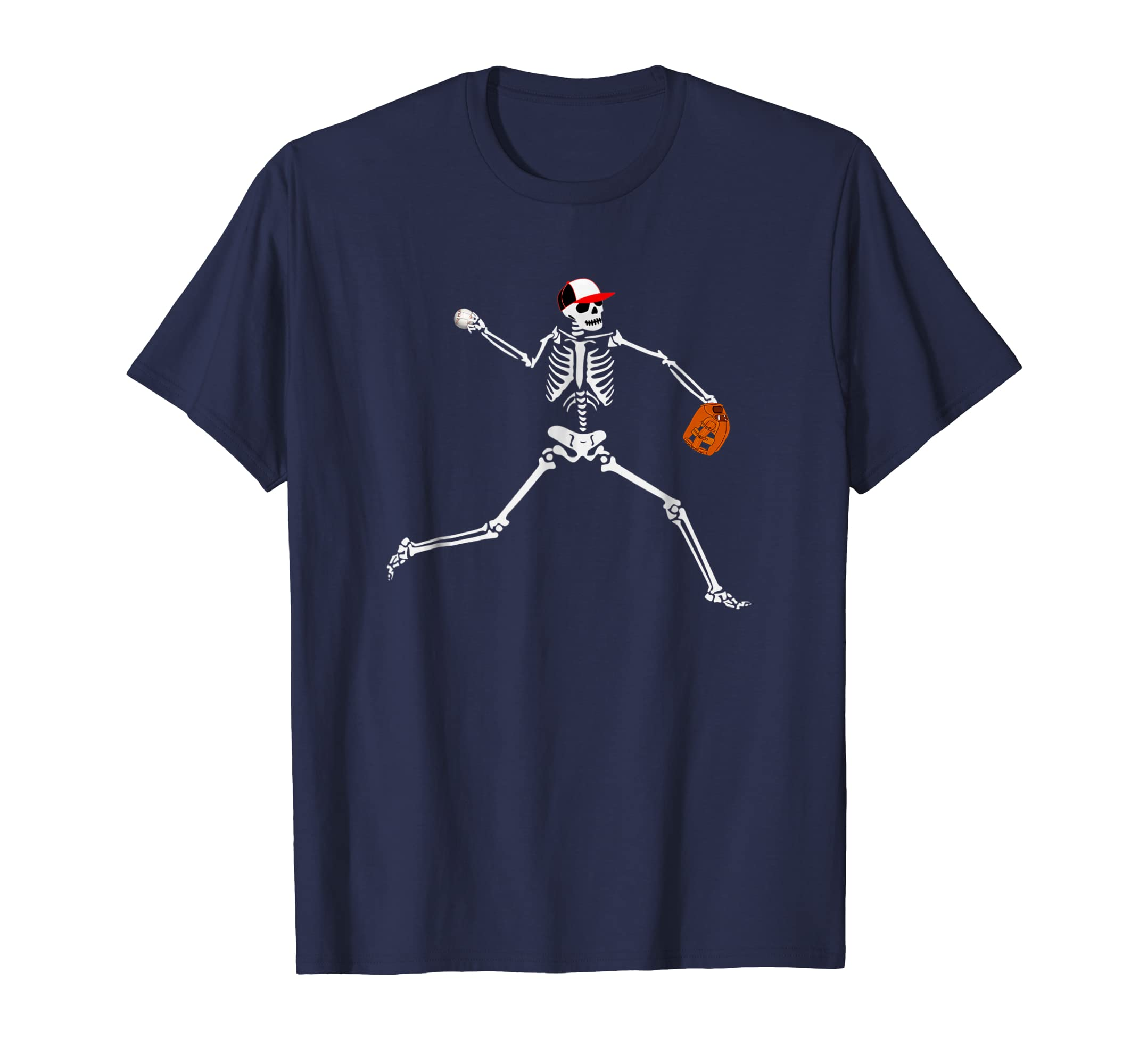 Baseball Skeleton Halloween Shirt Baseball Pitcher Tshirt-4LVS