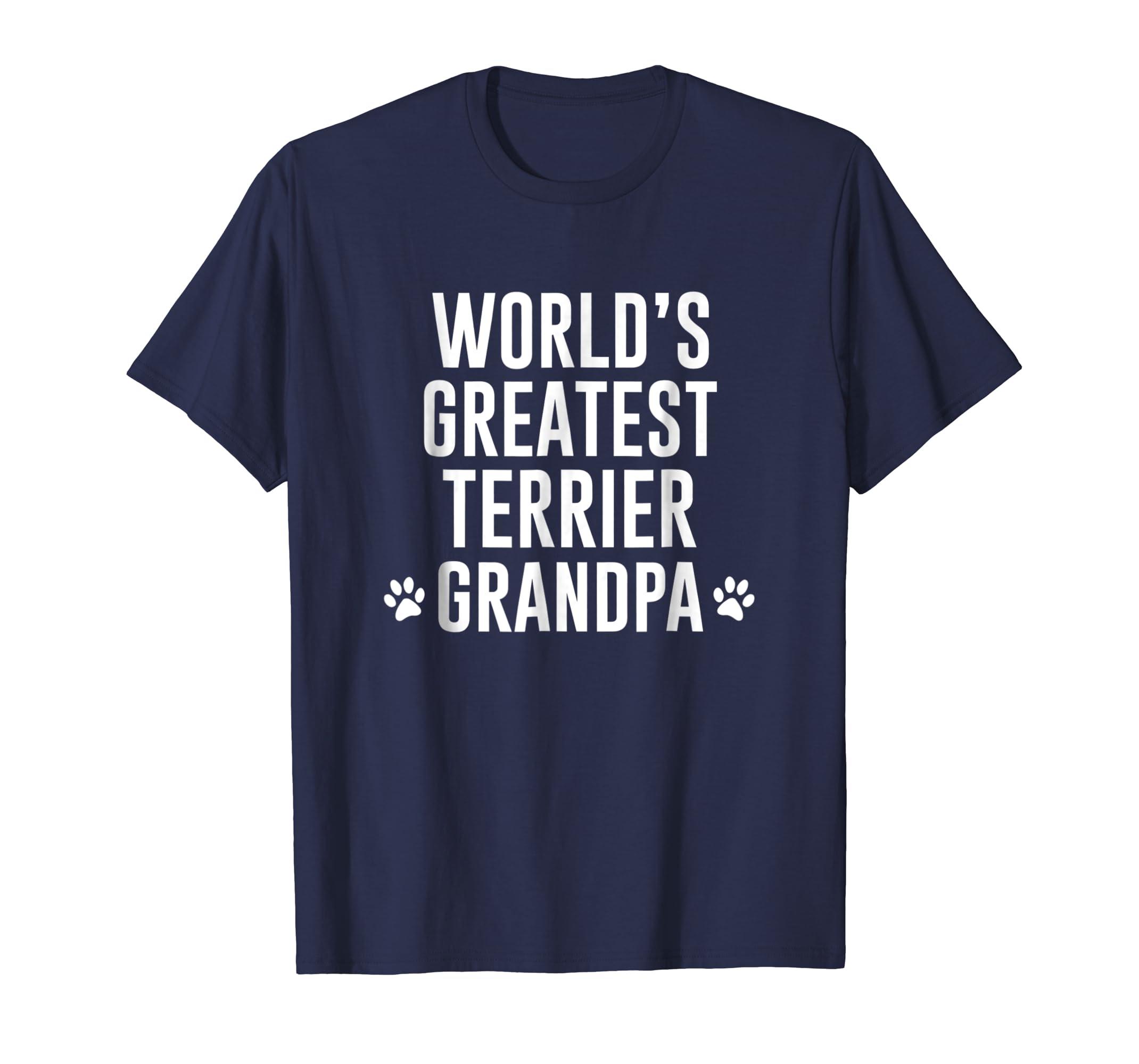 WORLDS GREATEST TERRIER GRANDPA TSHIRT-SFL