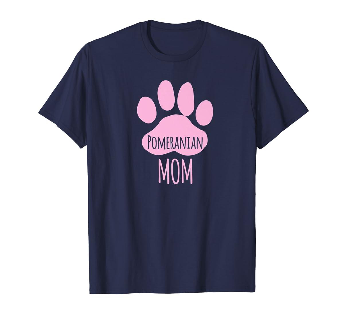 Cute Pomeranian Mom T Shirt for Pom Owner Dog Paw Pink-Men's T-Shirt-Navy