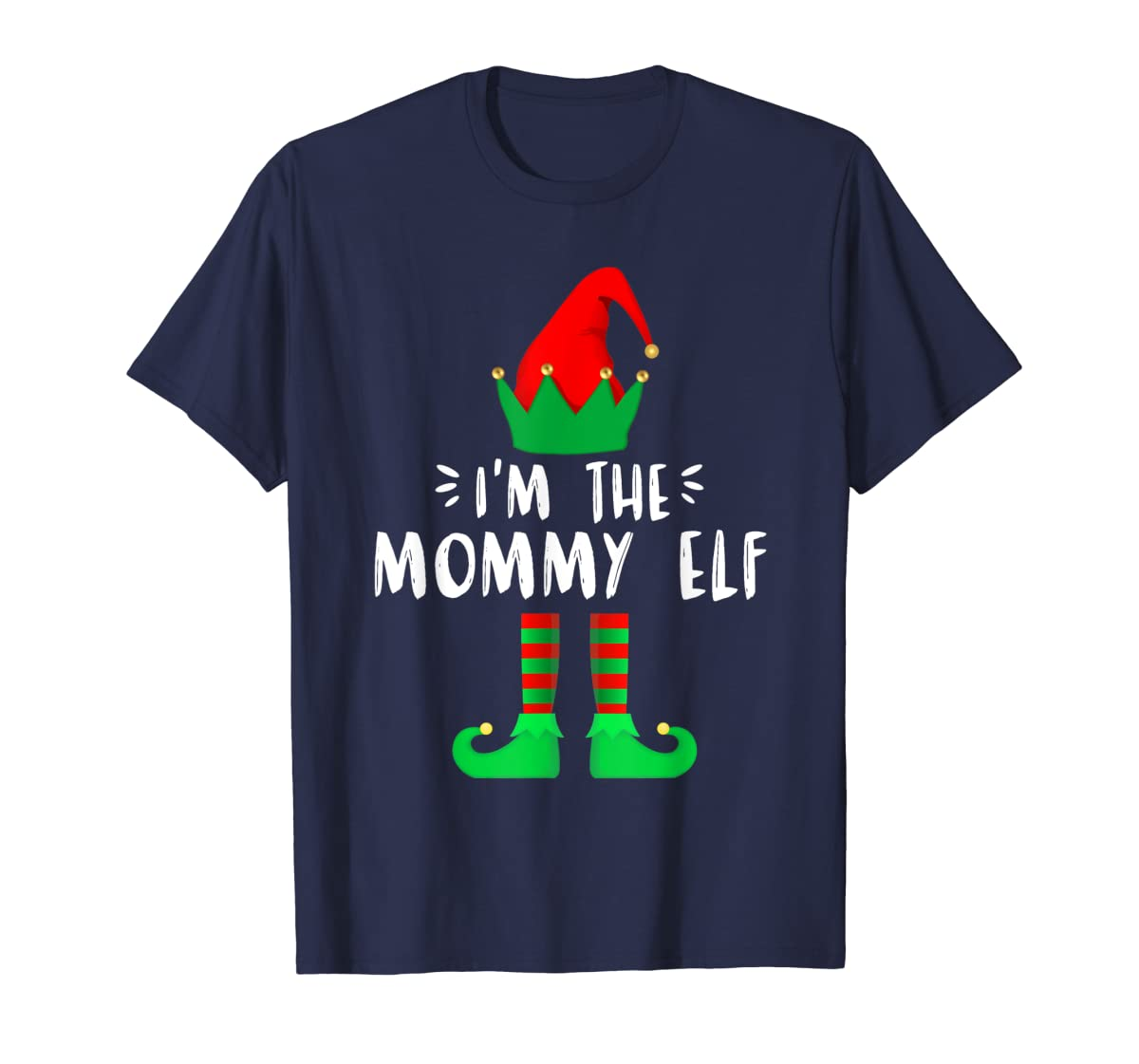 I'm the Mommy ELF matching family group Christmas T-Shirt-Men's T-Shirt-Navy