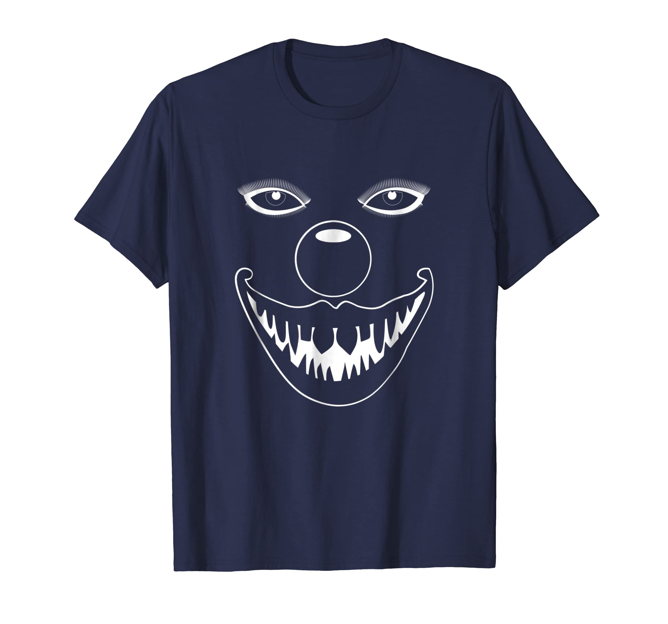 Creepy Scary White Clown Face Halloween Costume T-Shirt-mt