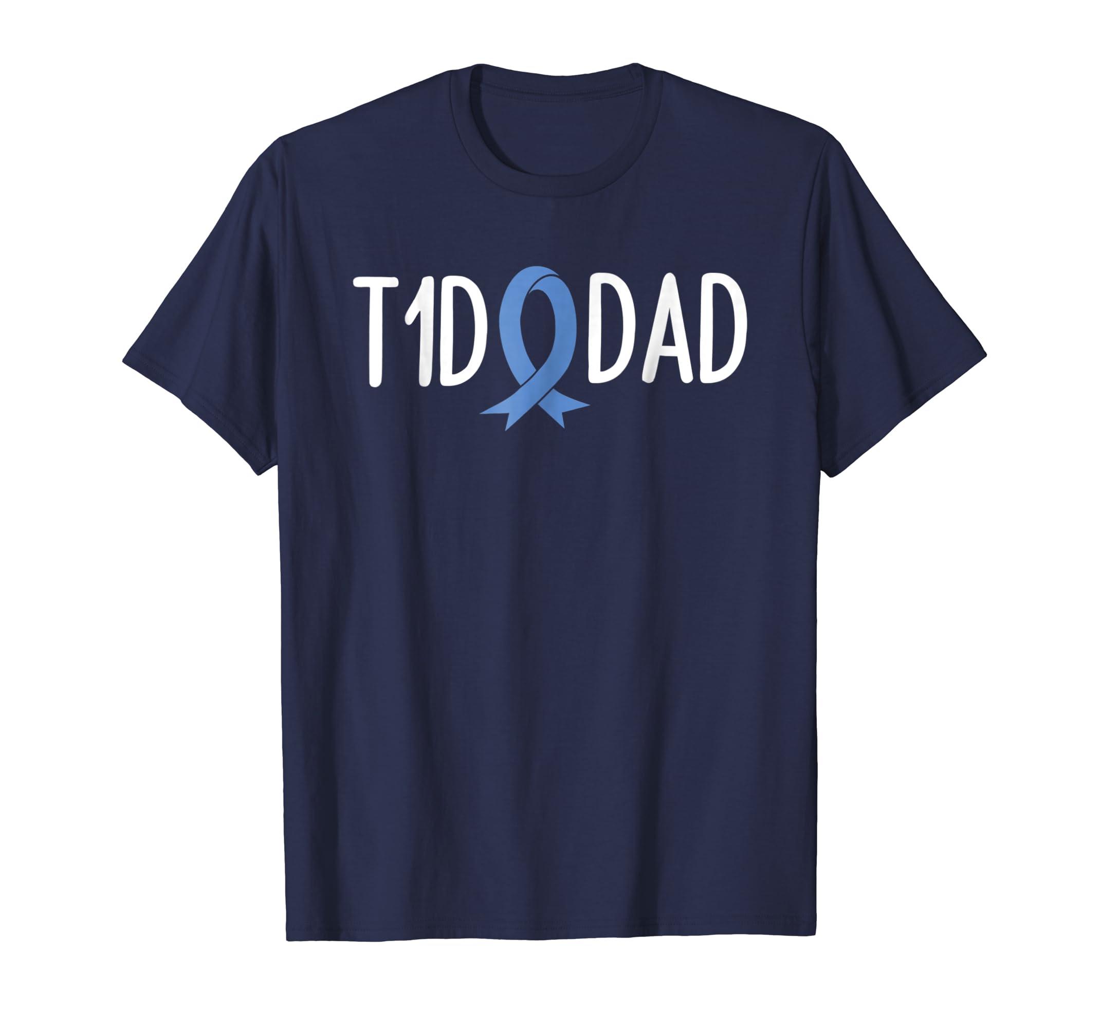 T1D Dad type1 t1 Diabetes Shirt Awareness Men Father Ribbon-azvn