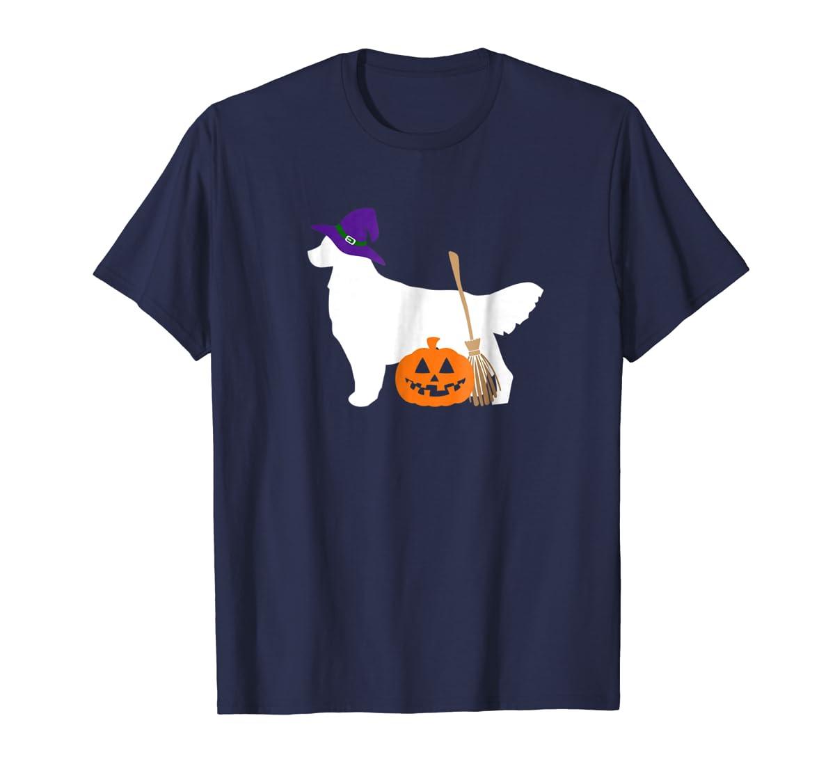 Golden Retriever Witch Hat Halloween Dog T-Shirt-Men's T-Shirt-Navy