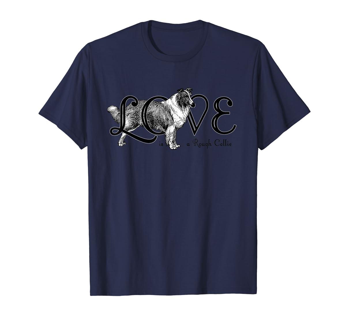 Love is a Rough Collie T-Shirt-Men's T-Shirt-Navy