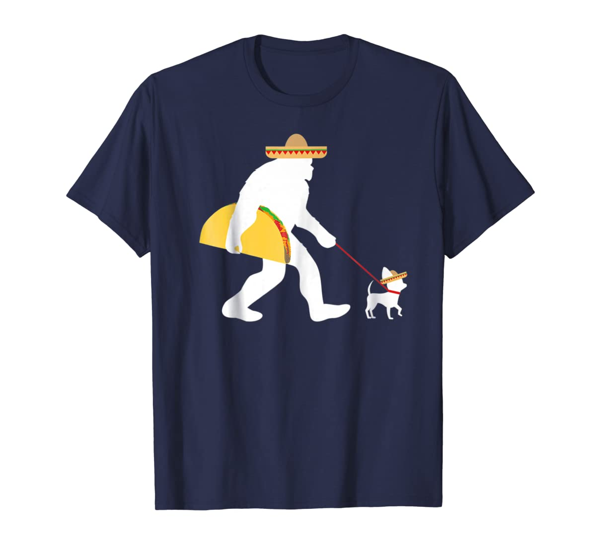Bigfoot Taco Sombrero Chihuahua Dog Cinco de Mayo T-shirt-Men's T-Shirt-Navy