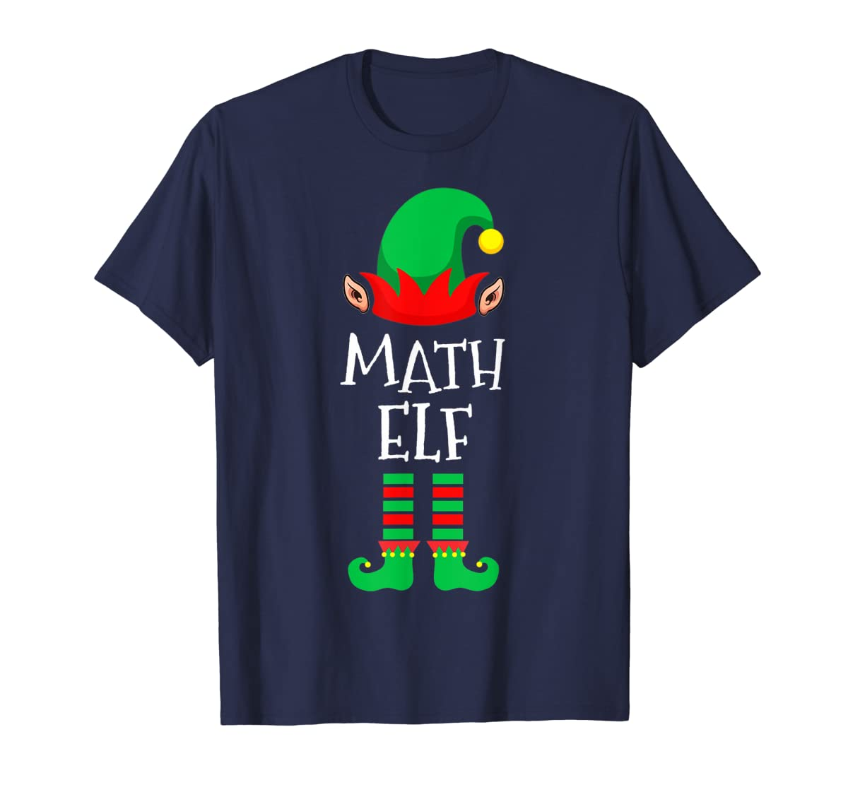 Math Elf - Funny School Teacher Christmas T-Shirt-Men's T-Shirt-Navy