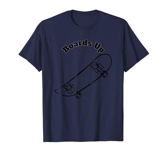 Boards Up Black Skateboard outline Lifestyle Tee Shirt