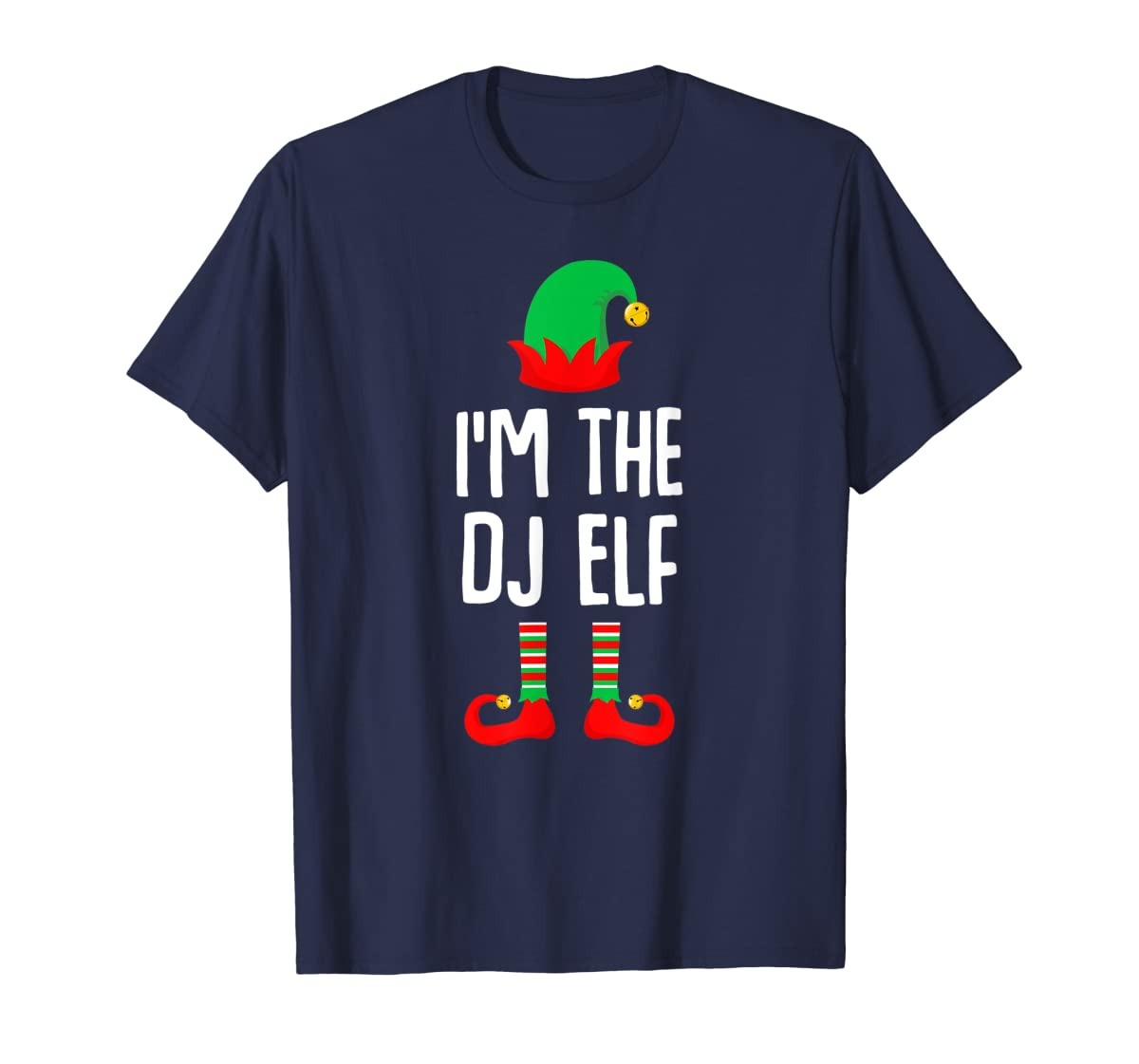 I'm The Dj Elf Matching Family Group Christmas T-Shirt-Men's T-Shirt-Navy