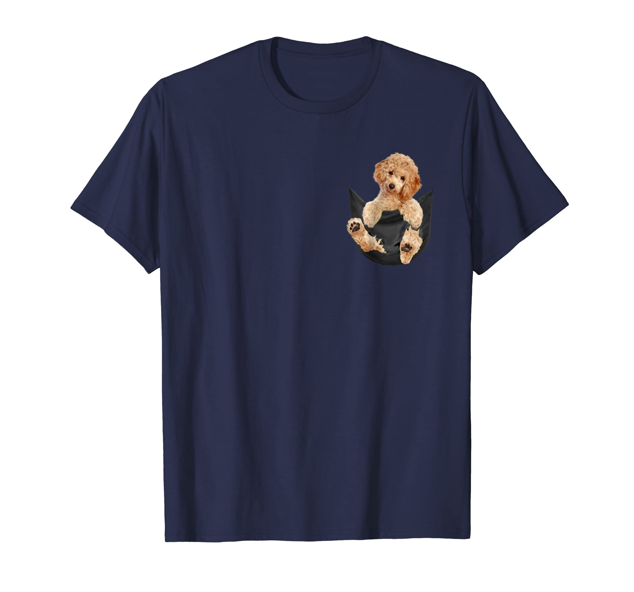 Poodle in pocket tee shirts-azvn