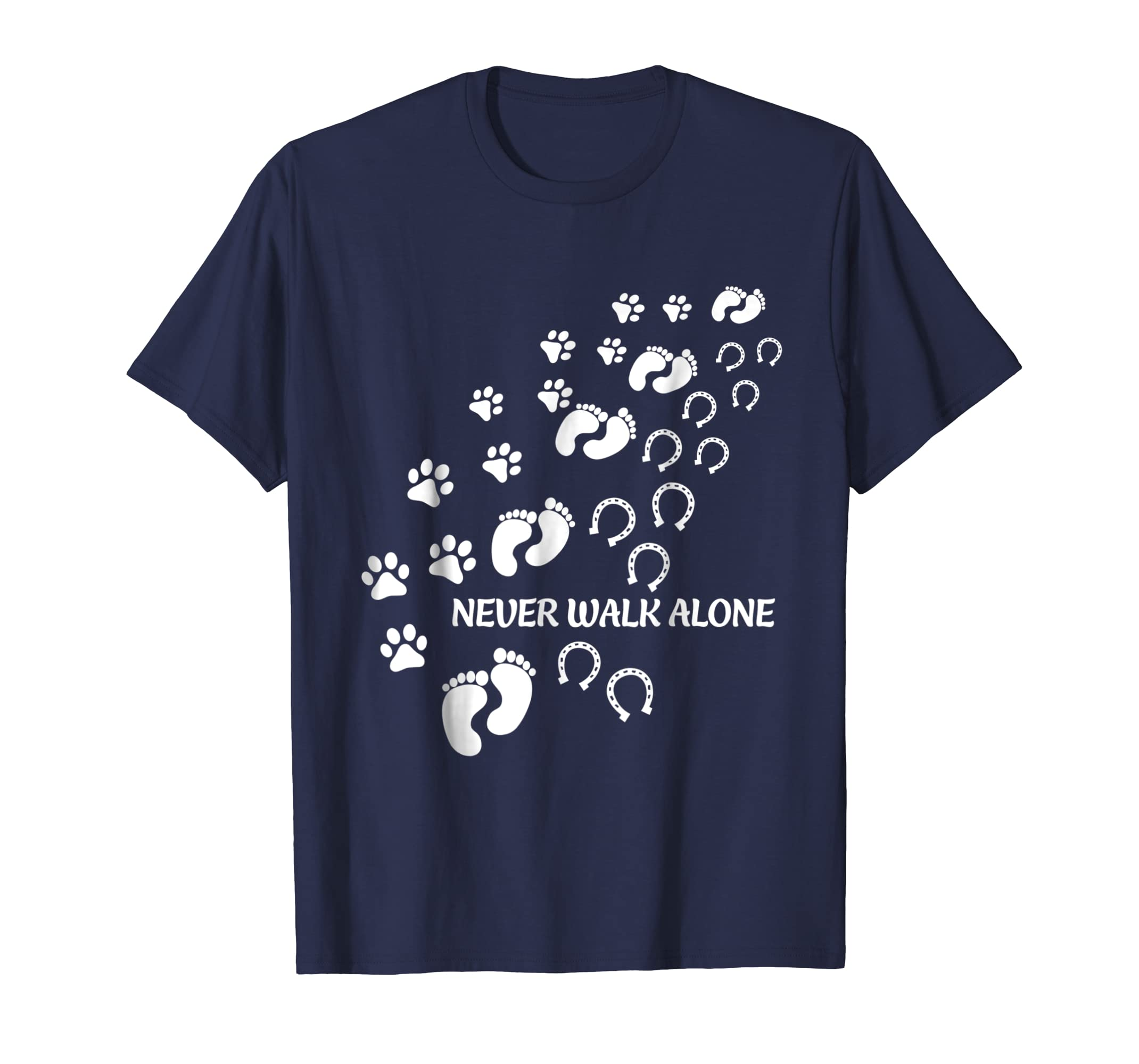 Never Walk Alone People Dog Horse Foot Funny Shirt-azvn