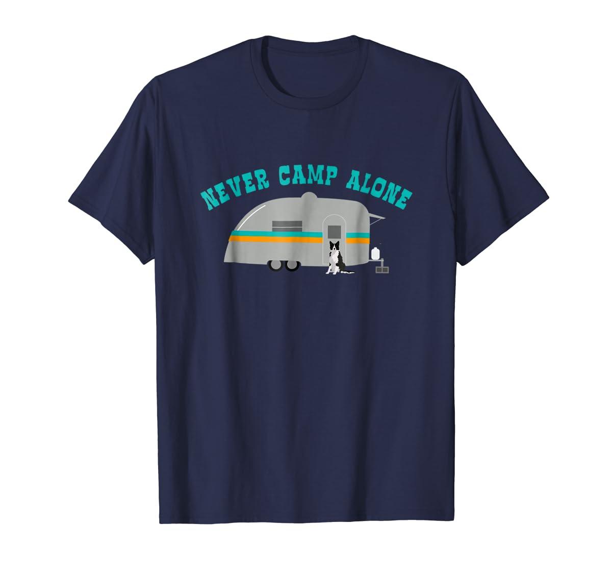 Border Collie Dog RV Shirt Funny Camping Travel Trailer-Men's T-Shirt-Navy
