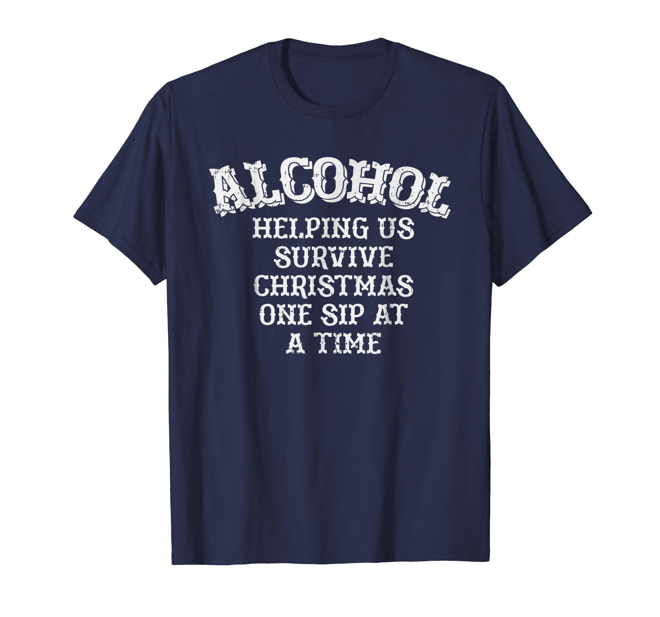 Christmas Drinking Shirt Funny Alcohol Xmas Holiday Party-azvn