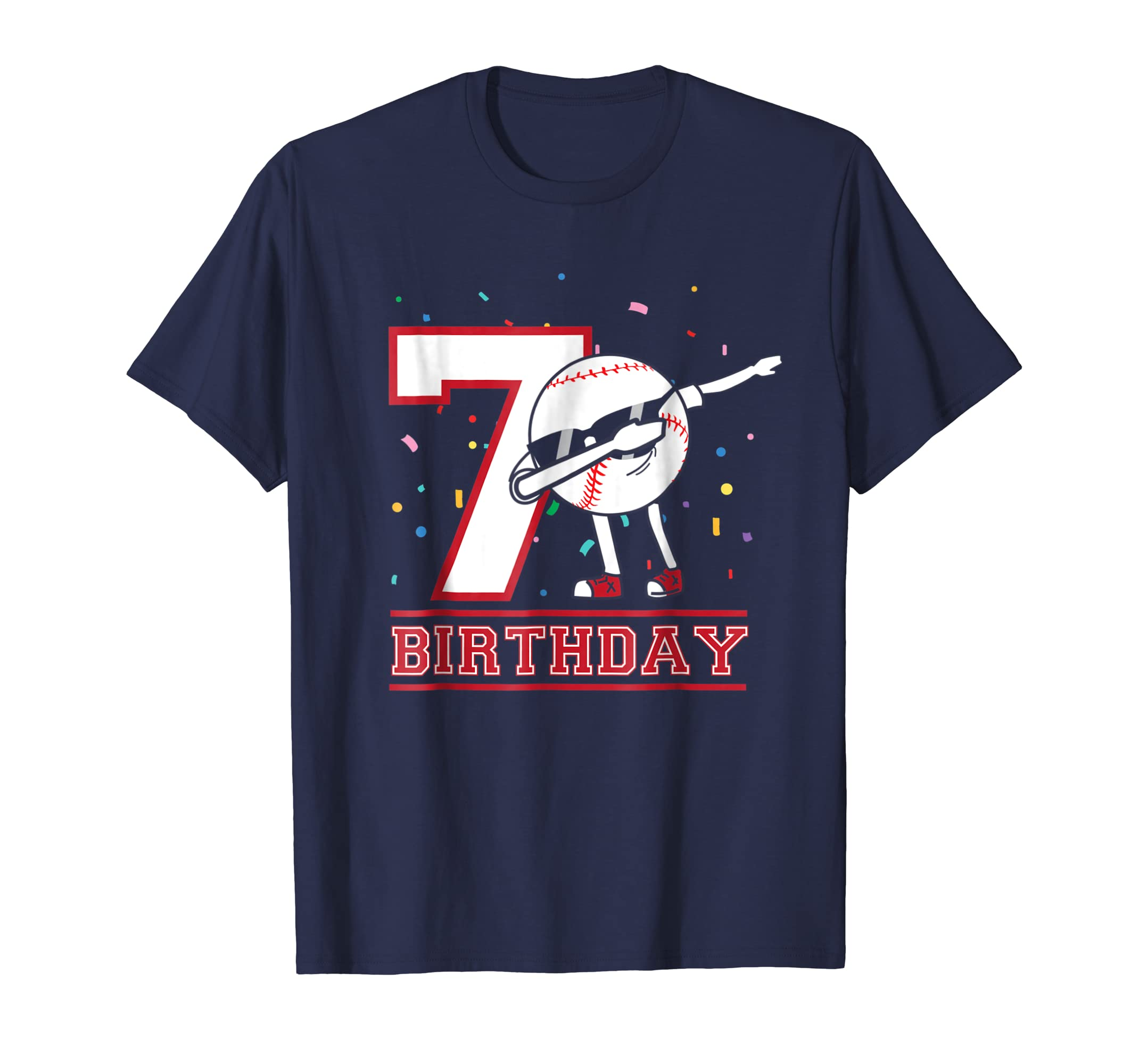 7 Year Old Birthday dabbing Baseball T Shirt 7th Boy Gift-Awarplus