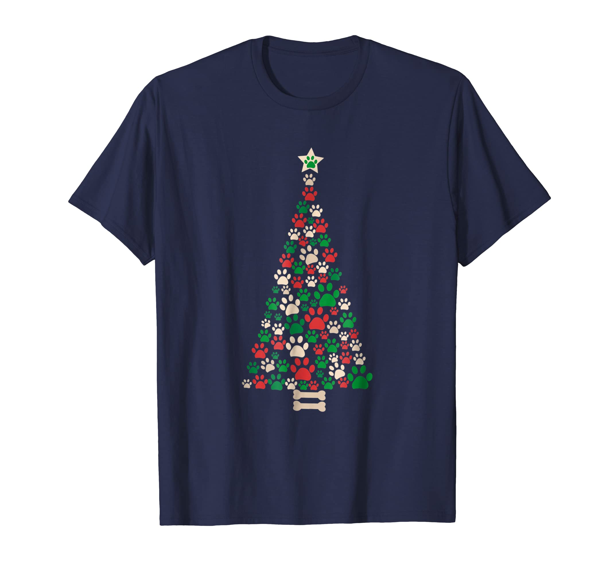 Christmas tree made of bone and paw prints T shirt-azvn