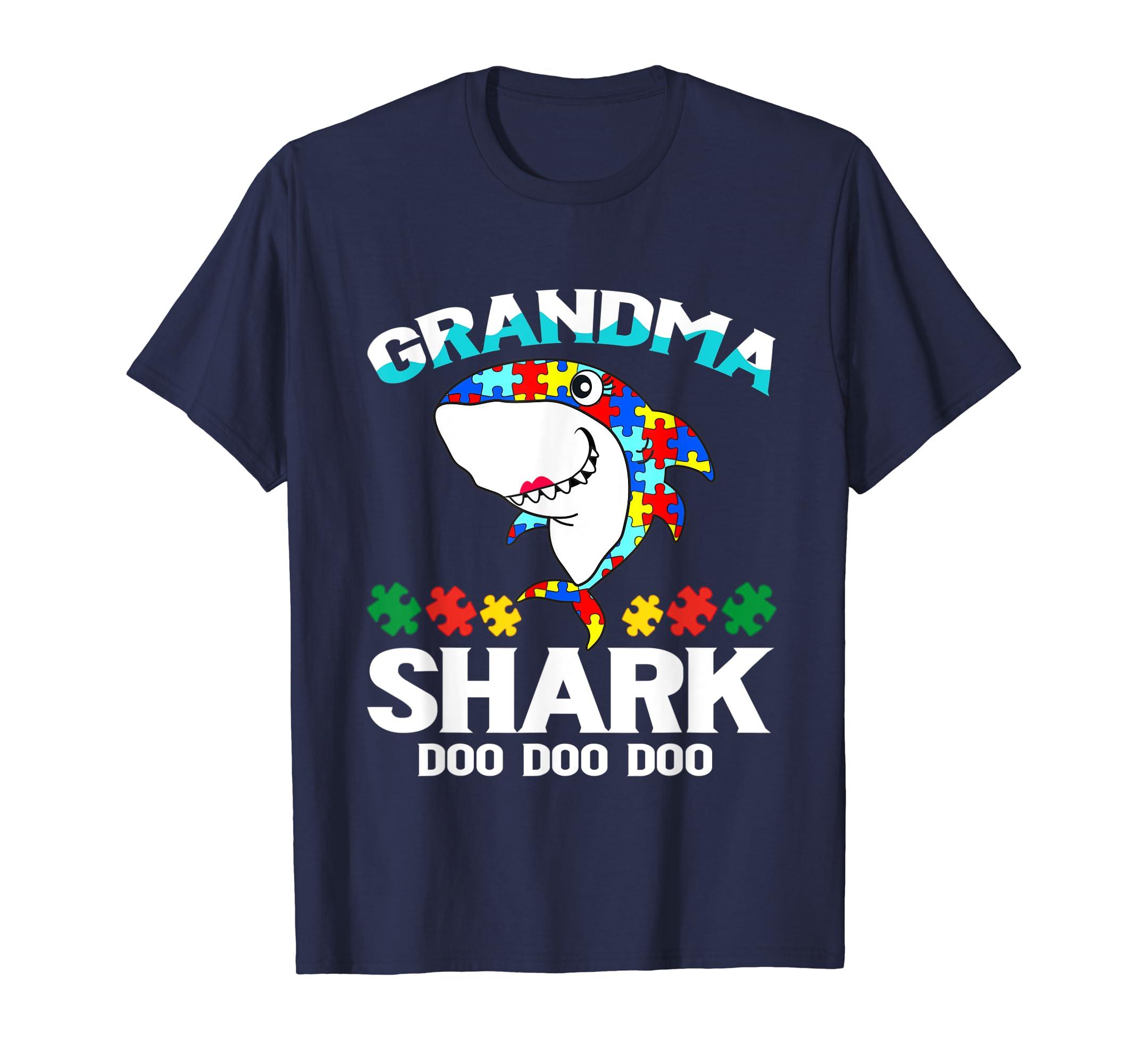 Grandma Shark Autism Awareness Shirt Gift Mens Womens Kids-Yolotee
