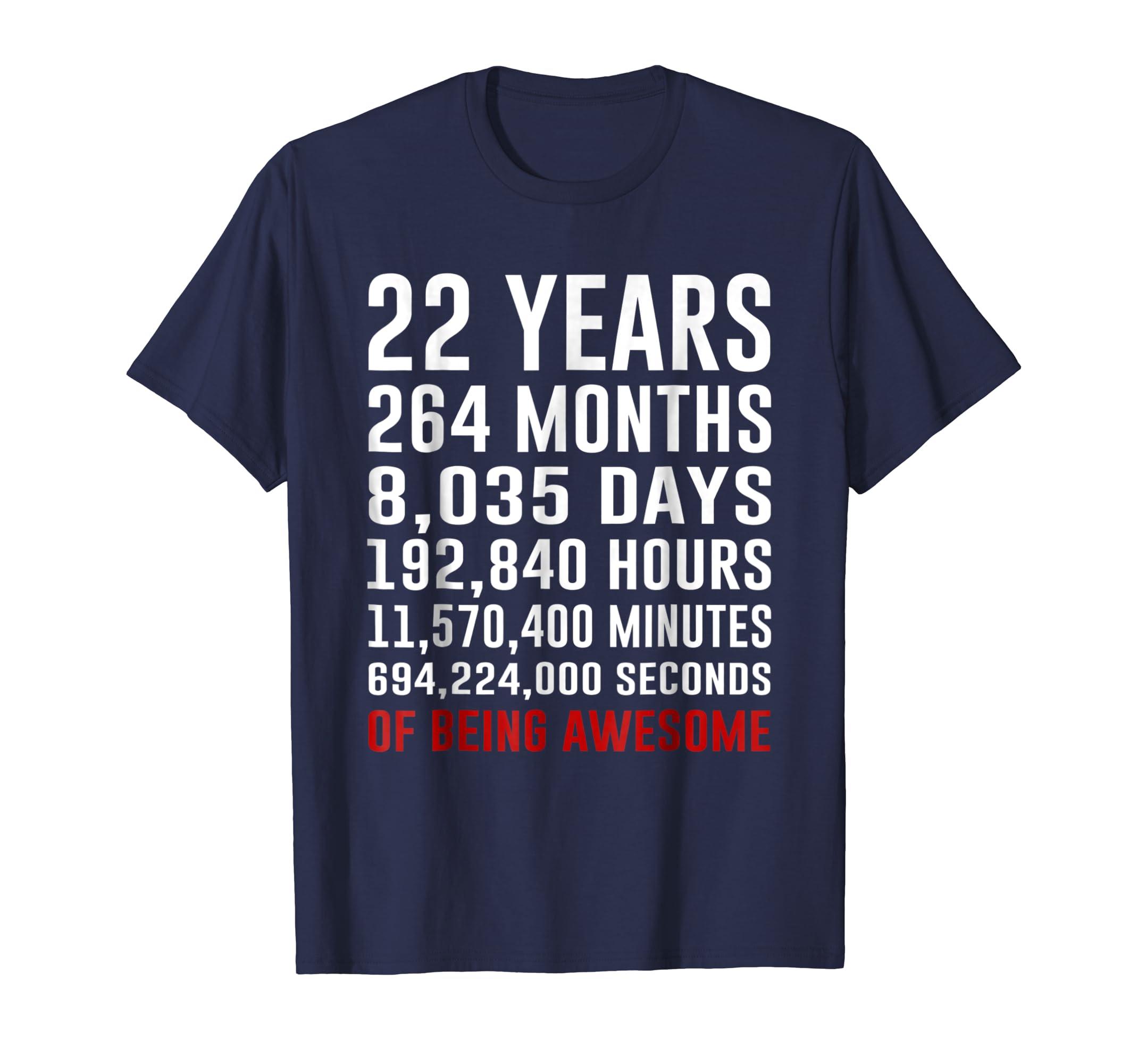 22nd Birthday Gifts 22 Yrs Old 1996 Shirt Being Awesome Tee-Awarplus