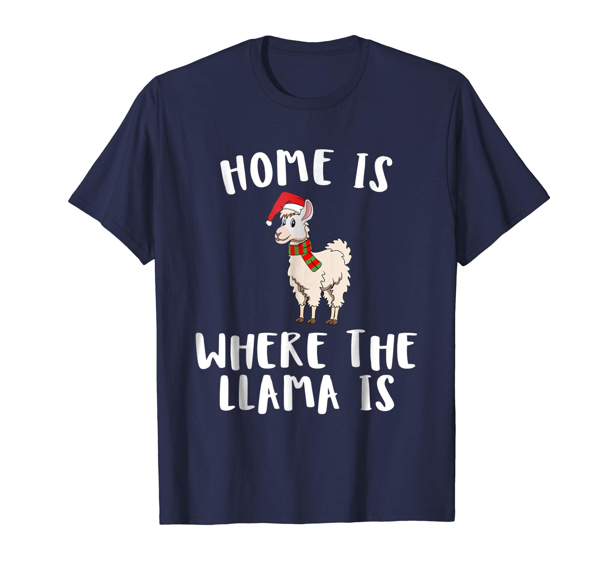 Home is Where the Llama Dabbing Santa is Shirt Santas Hat-SFL