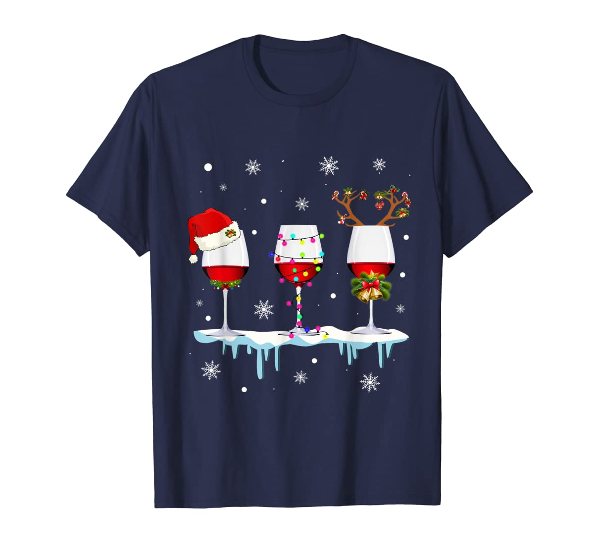 Three Glass of Red Wine Santa Hat Christmas T-Shirt-Men's T-Shirt-Navy