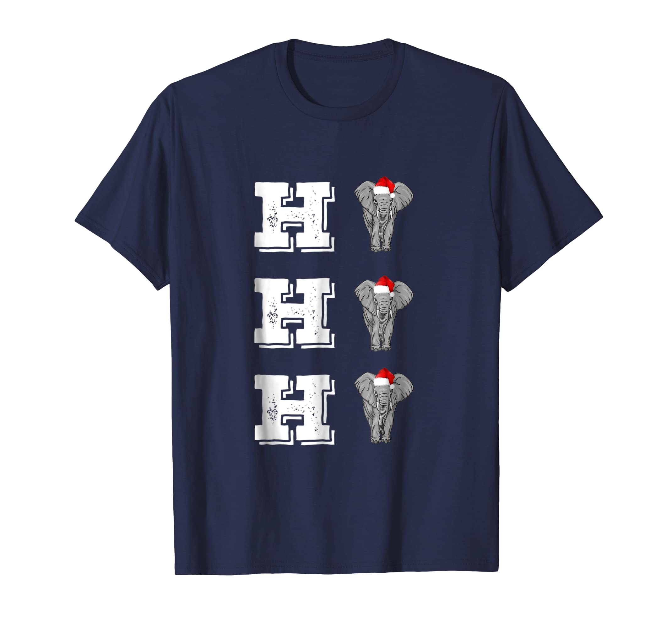 Xmas Ho3 Elephant Lover With Santa Hat Christmas T Shirt-azvn
