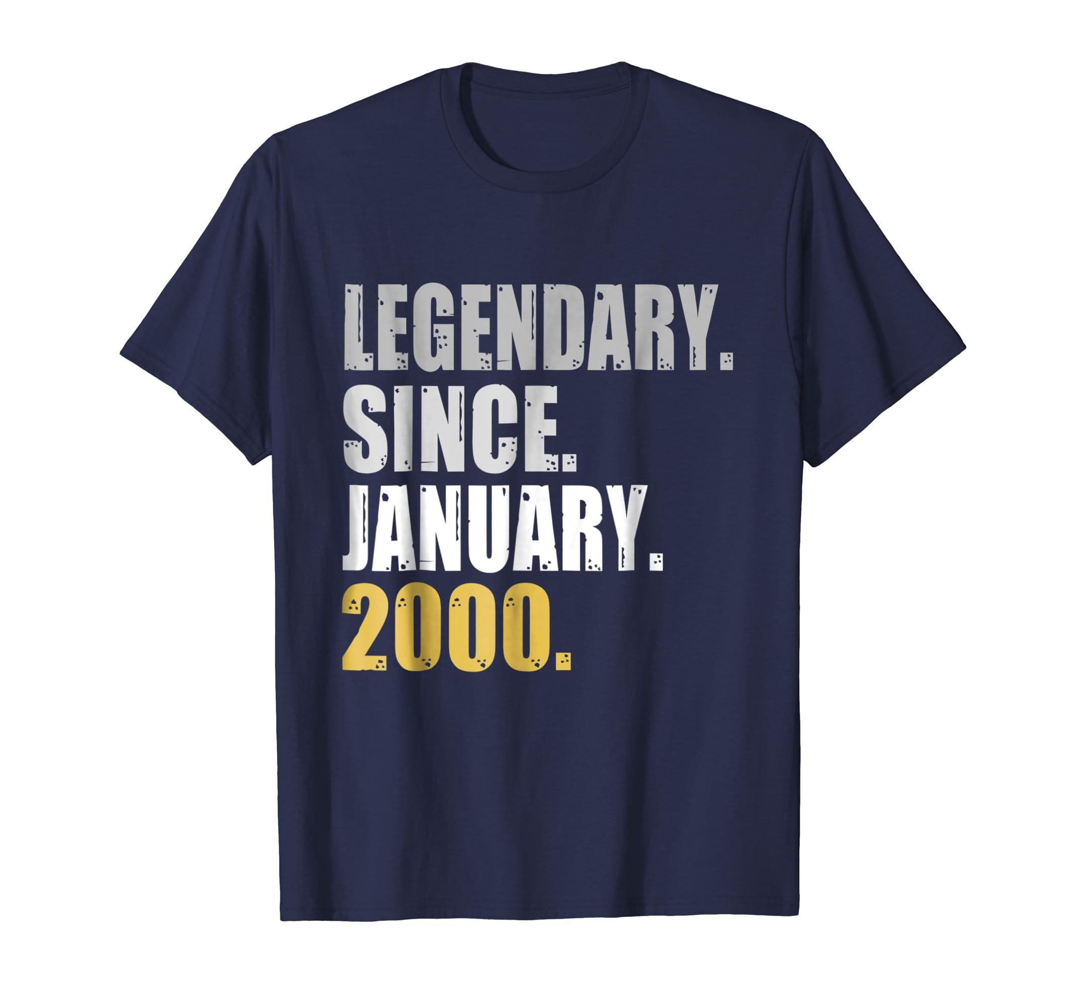 19th Birthday Gifts Legendary Since January 2000 T Shirt-azvn