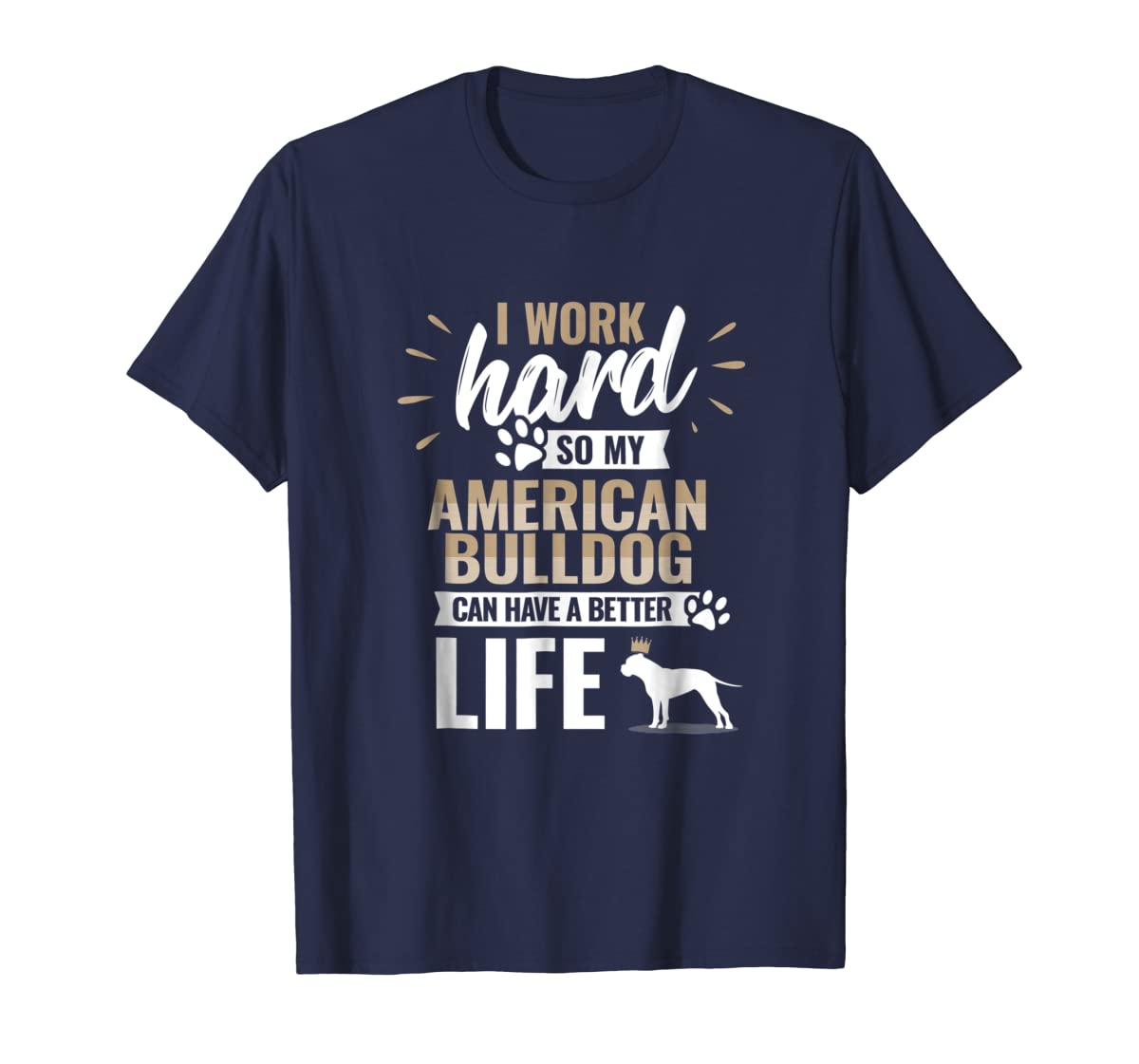 Cool Dog T-Shirt American Bulldog Owner Gift-Men's T-Shirt-Navy
