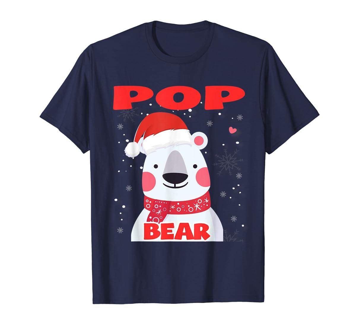 Pop Bear Christmas Grandpa Santa T-Shirt-Men's T-Shirt-Navy