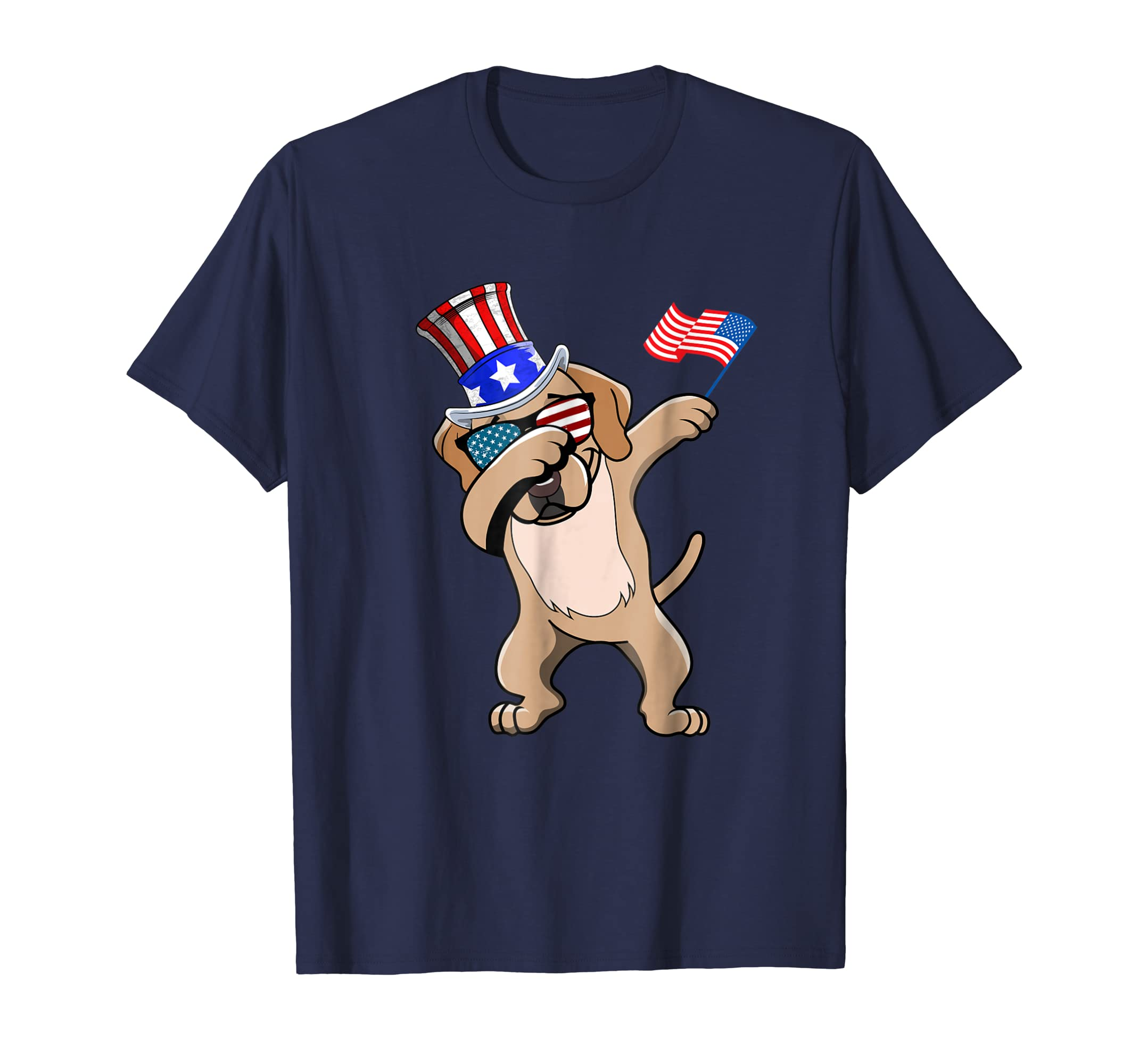 Labrador Retriever Dabbing Dog Dad 4th of July Shirt-AZP