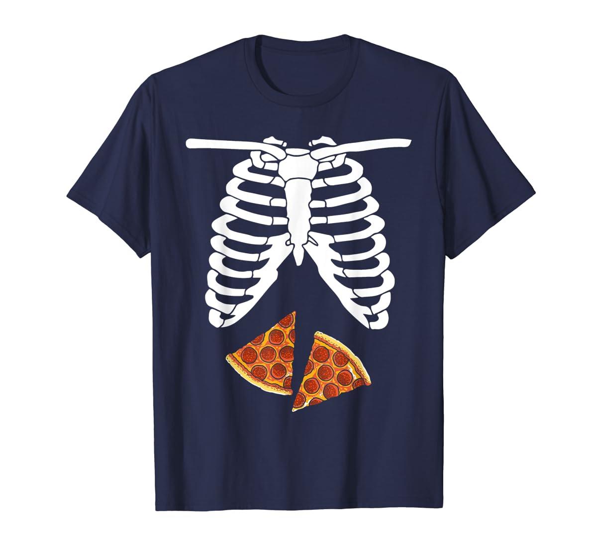Halloween Skeleton Xray Pizza Slices Costume Rib Cage Easy T-Shirt-Men's T-Shirt-Navy