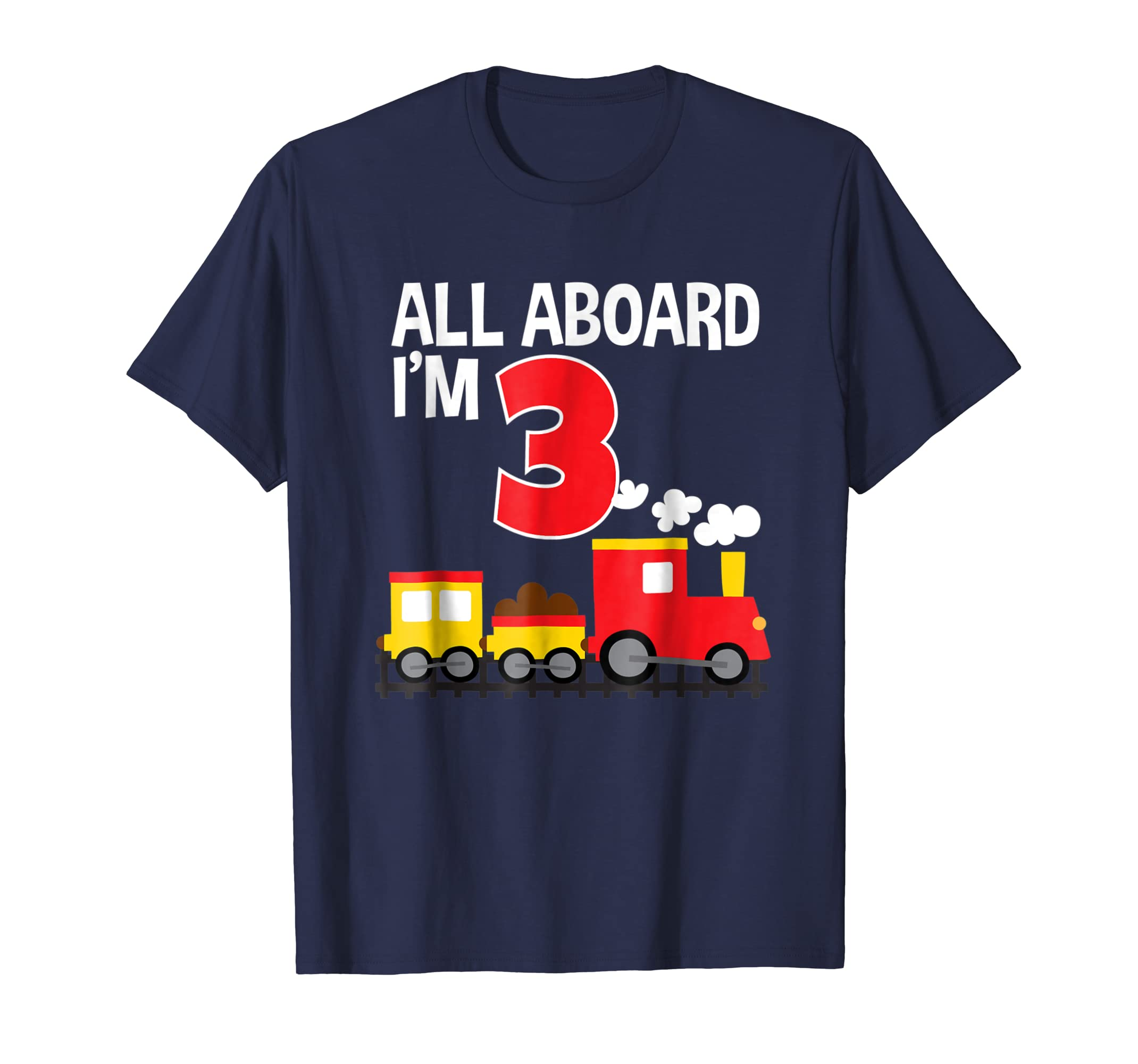 All Aboard I'm 3 Train Birthday T-Shirt Toddler Boys Girls-mt