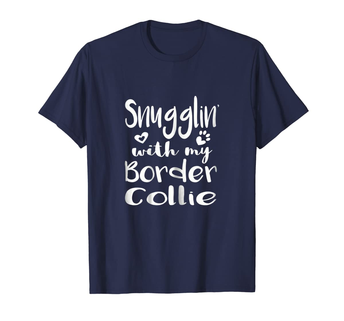 Snuggling with my Border Collie Shirt - Dog Mom pajamas-Men's T-Shirt-Navy