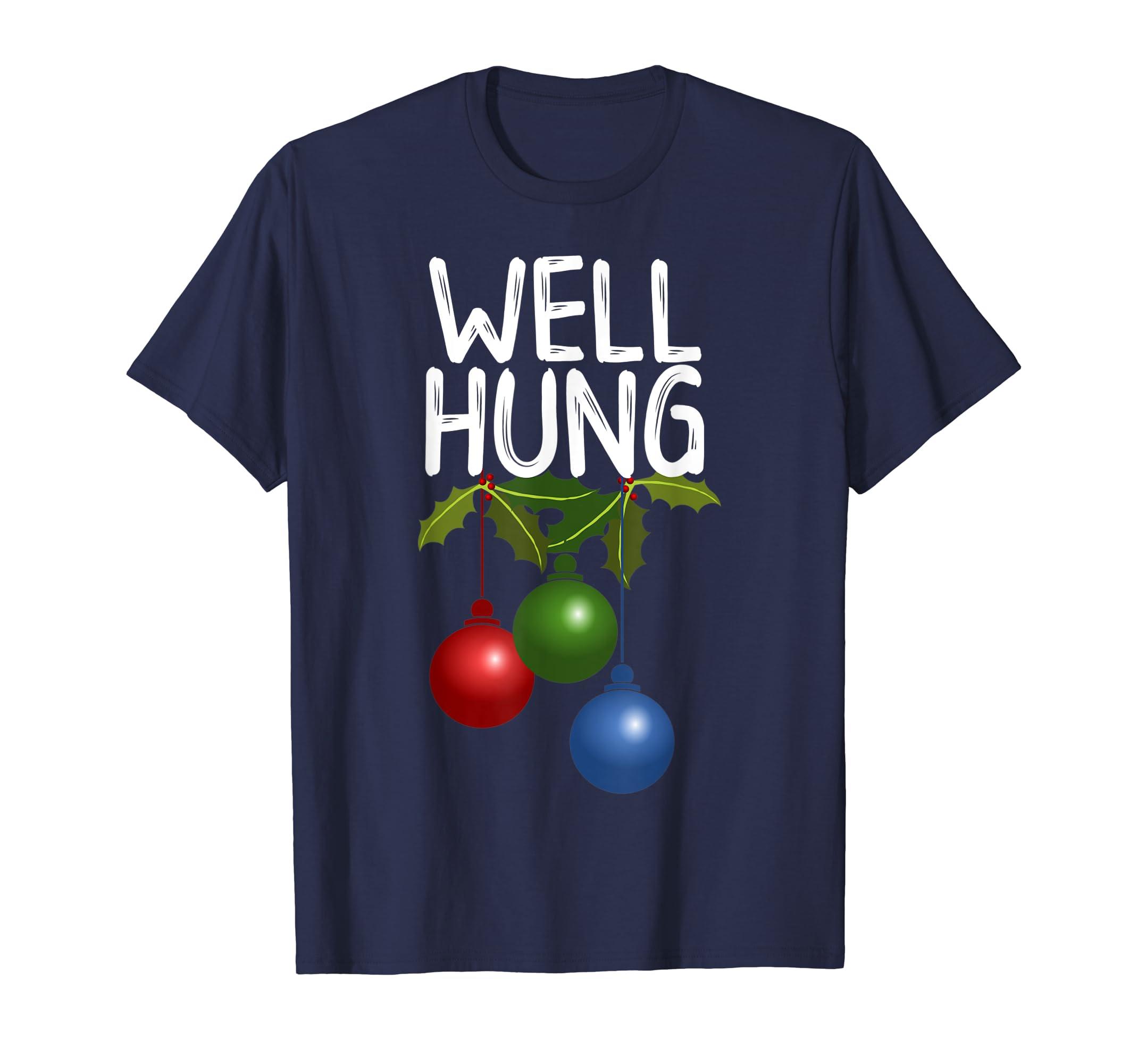 39daa246780 Amazon.com  Mens Well Hung Funny Christmas T- Shirt For Men  Clothing
