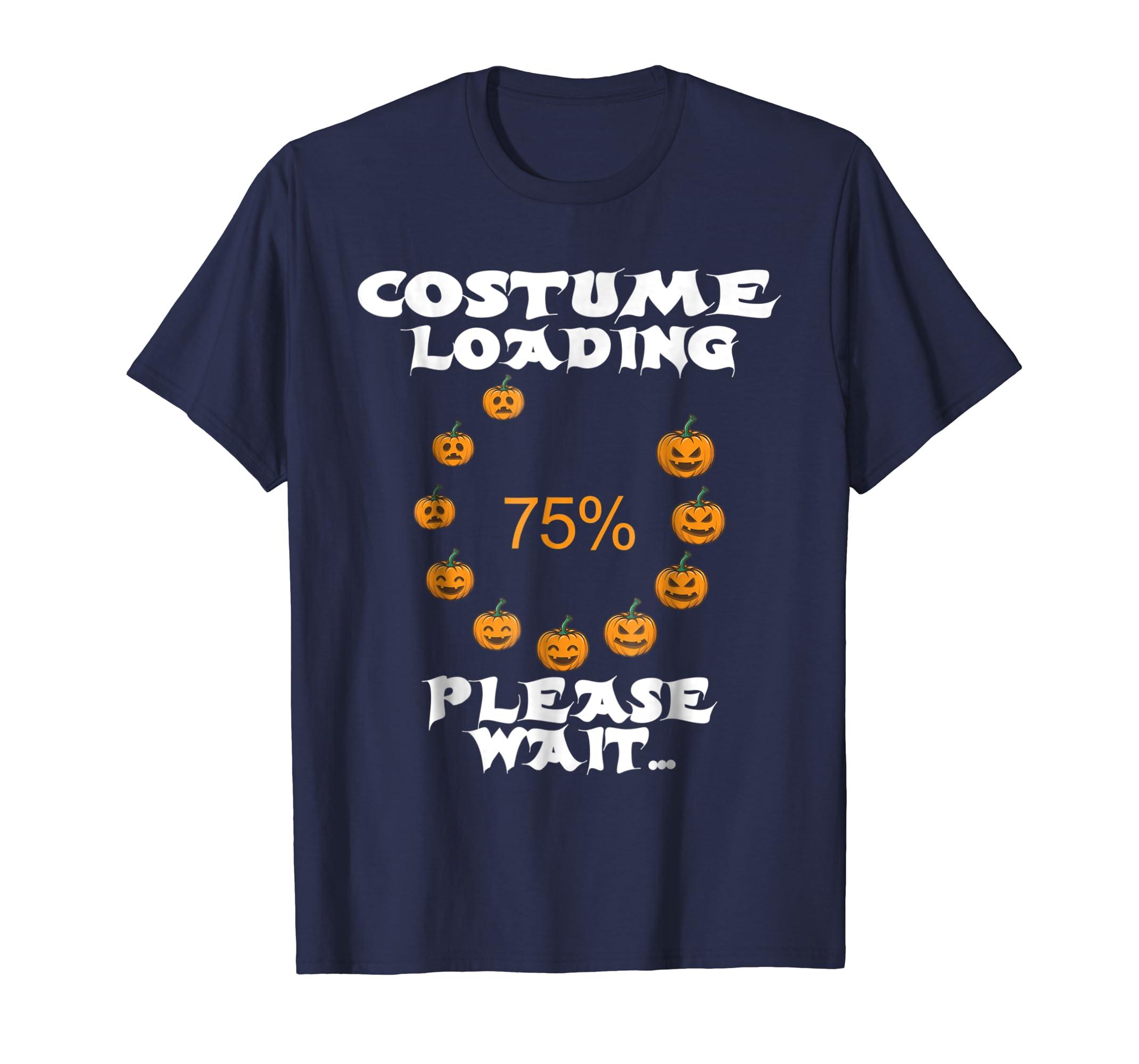 Costume Loading Please wait Halloween Nerd Geek pumpkin tee-azvn