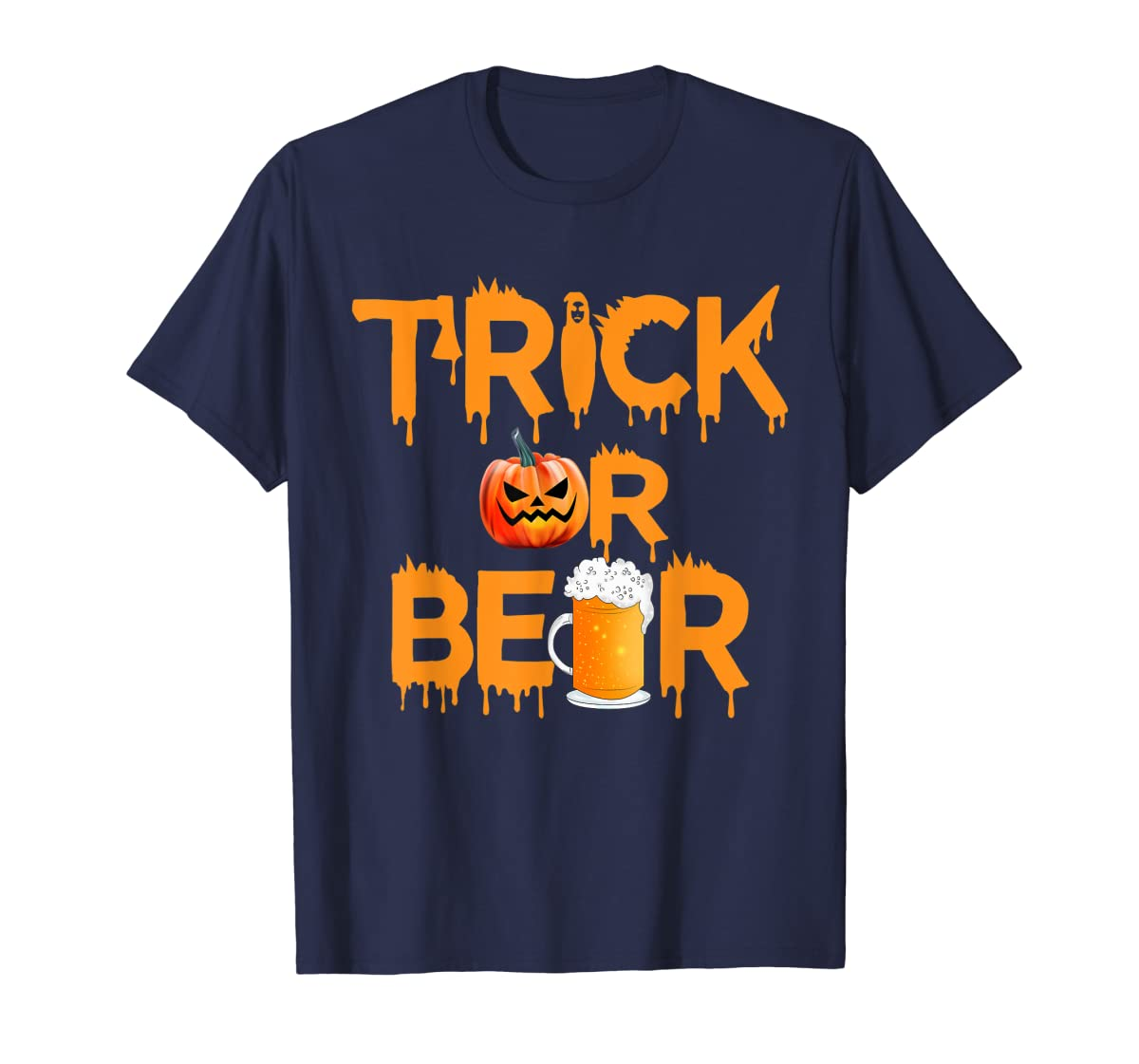 Halloween Costume Trick or Beer Drinking T Shirt Pumpkin Men T-Shirt-Men's T-Shirt-Navy