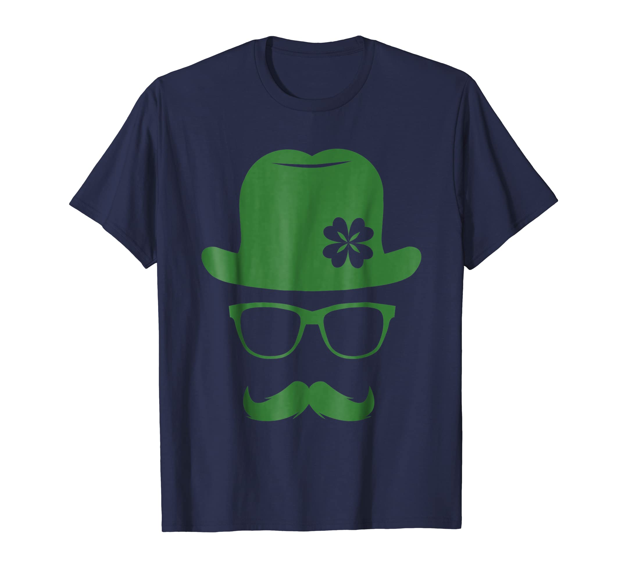 St Patricks Day Green Derby Moustache Hipster T Shirt-azvn