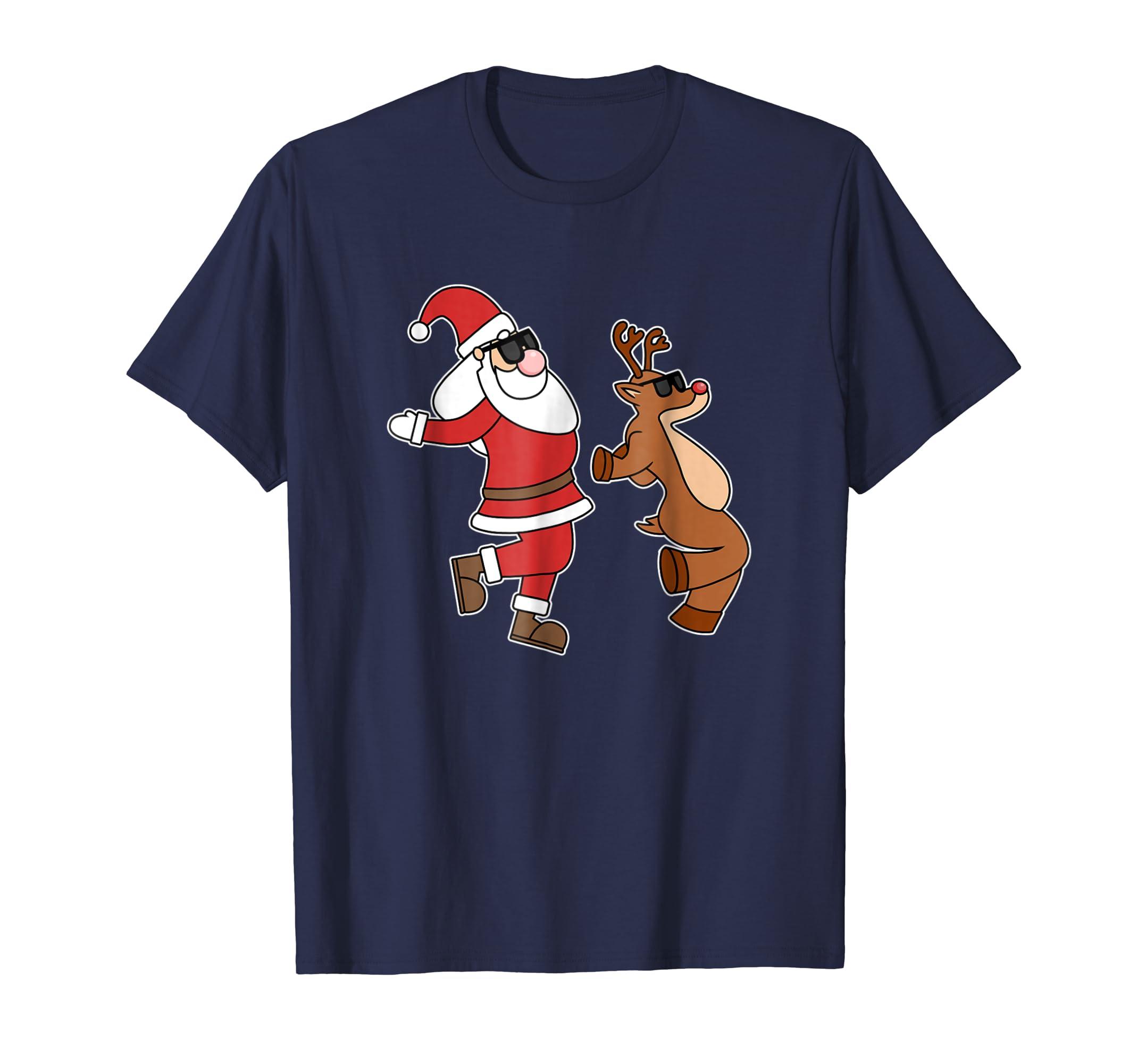 Santa Reindeer Shoot Dance Sunglasses T Shirt-azvn