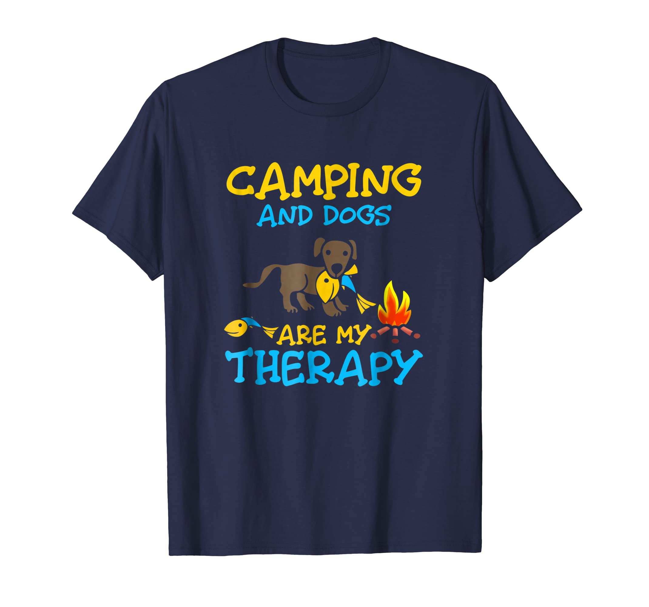 Camping and dogs are my therapy Tshirt-AZP