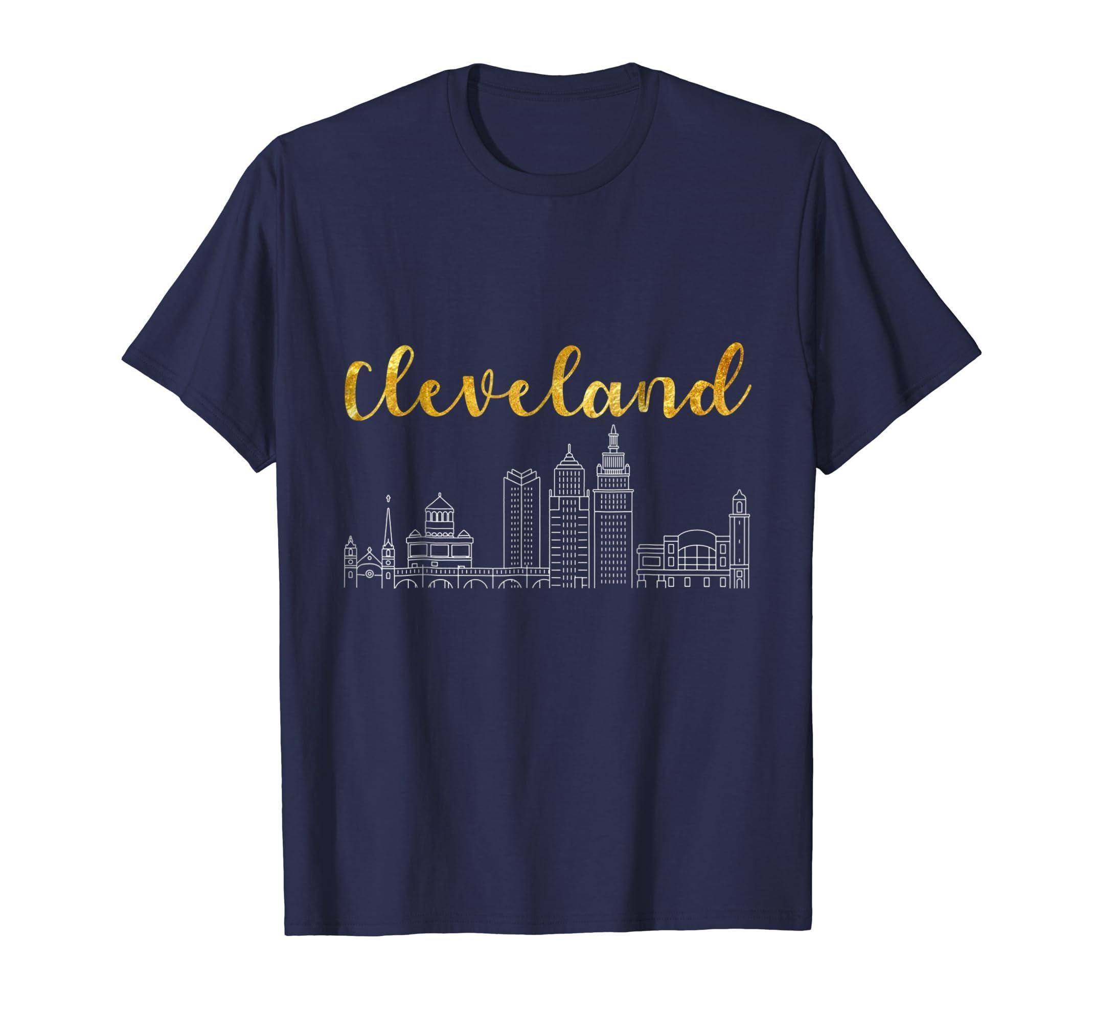 Classic Cleveland City Skyline T-Shirt Souvenir Gifts-SFL