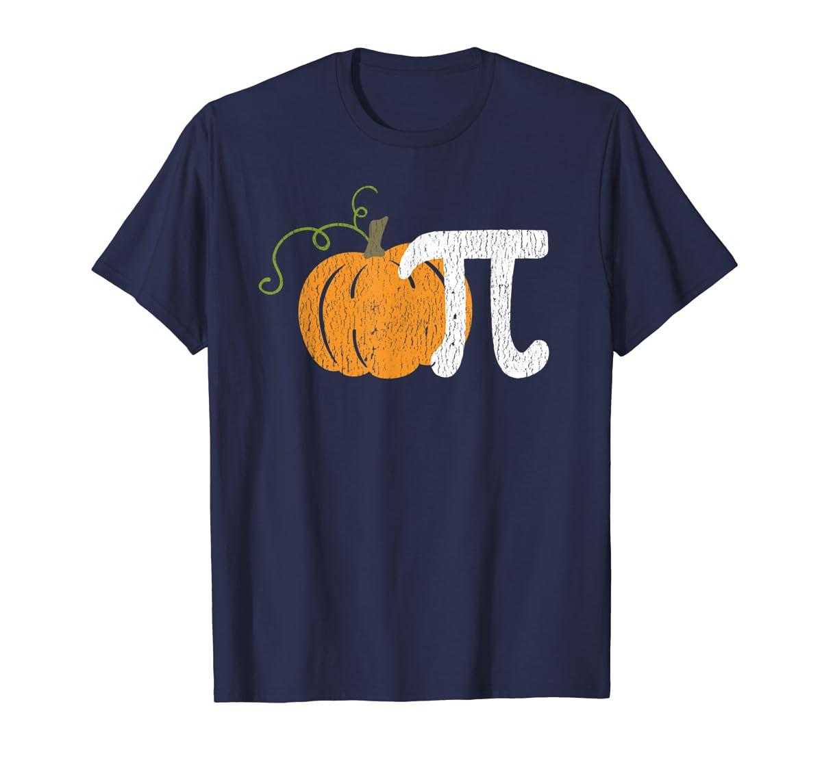 Funny Pumpkin Pie Math Teacher Halloween Pi Humor T-Shirt-Men's T-Shirt-Navy
